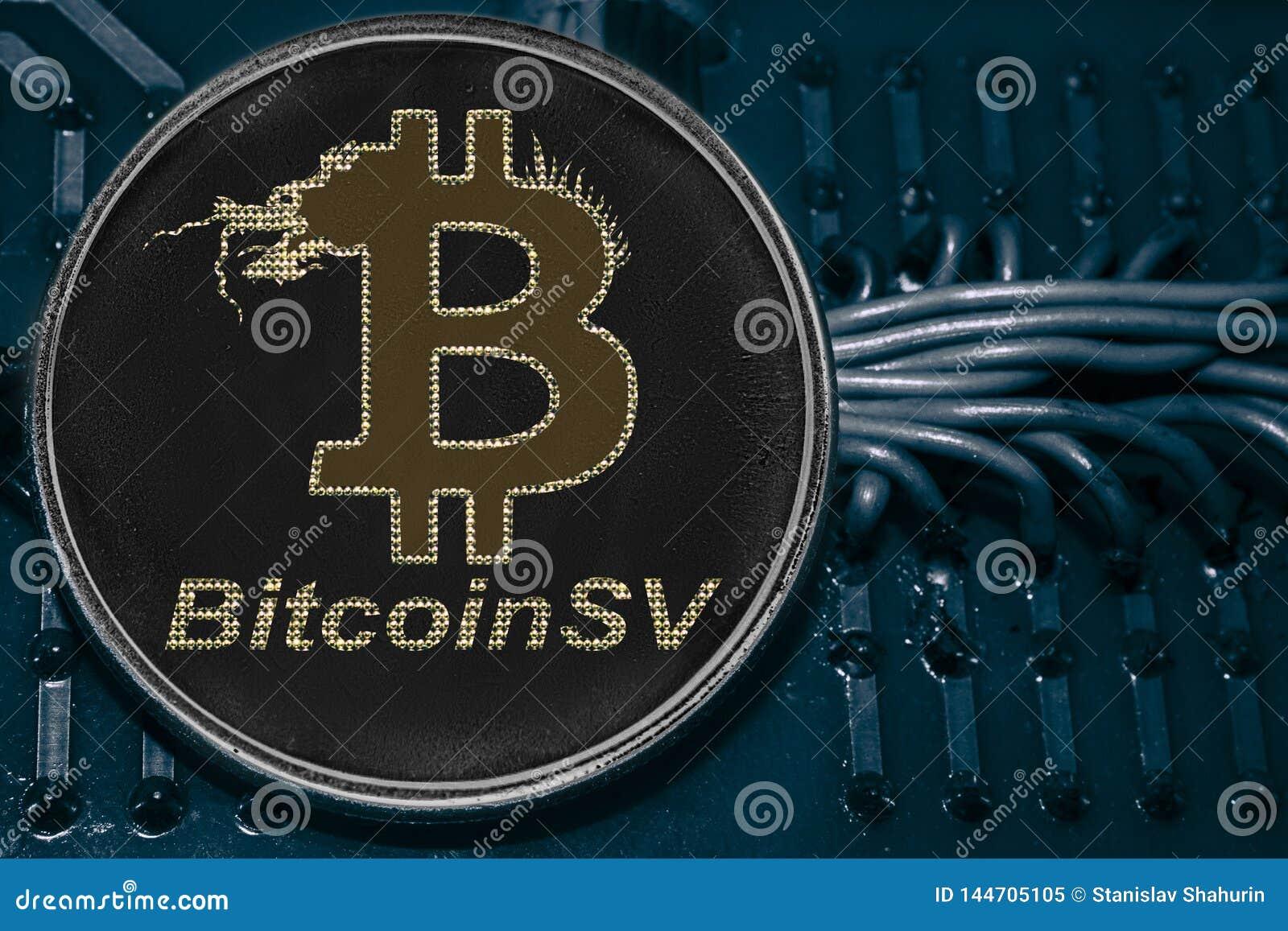 Menniczy cryptocurrency Bitcoin SV na tle druty i obwody BSV