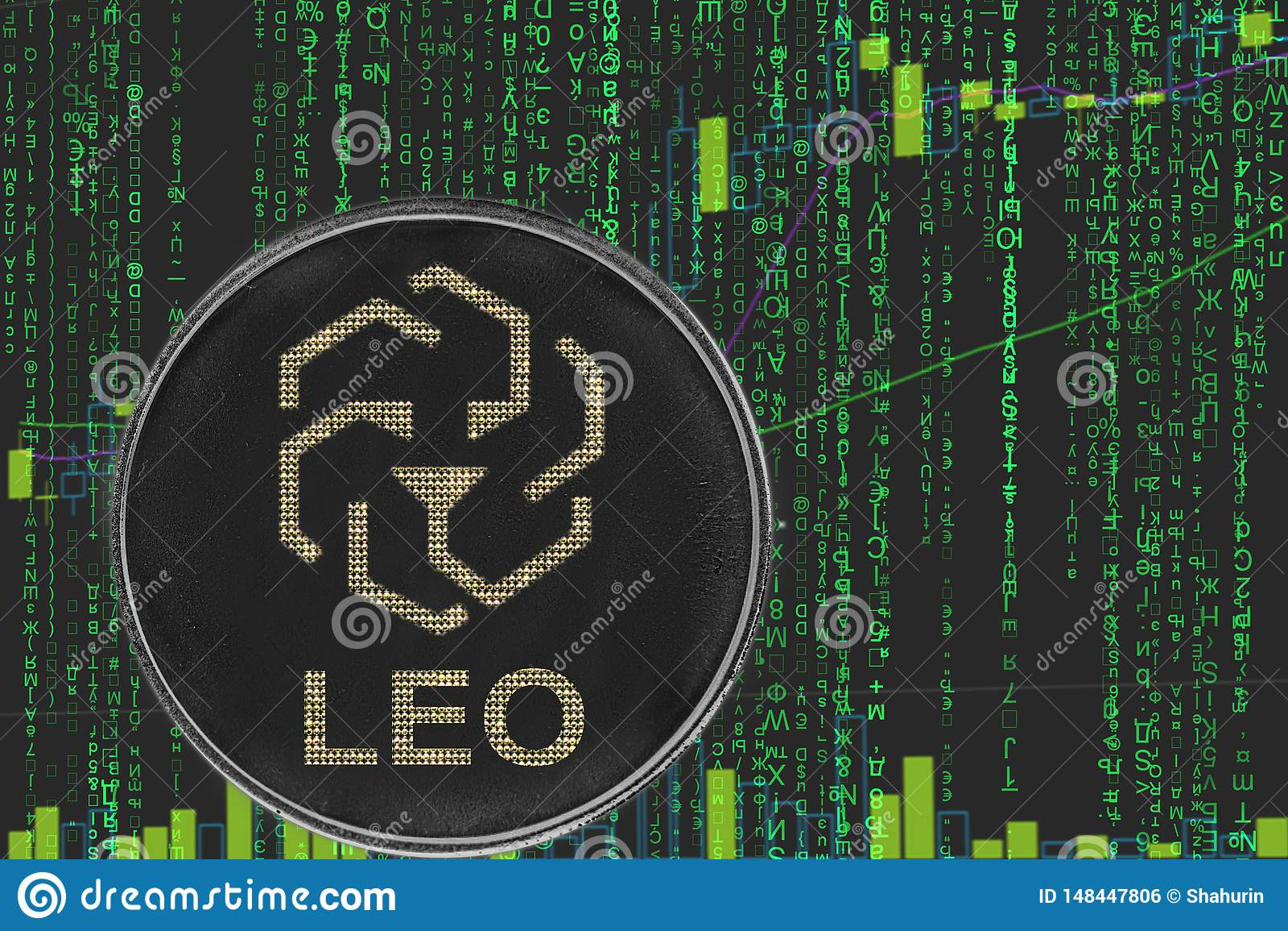 Menniczy Leo bitfinex cryptocurrency na tle binarny crypto matrycowy tekst i cena sporz?dzamy map?