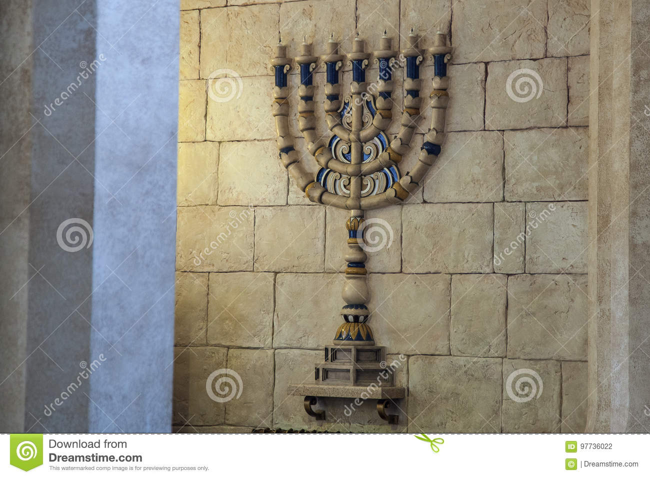 The menorah candlestick in the Synagogue