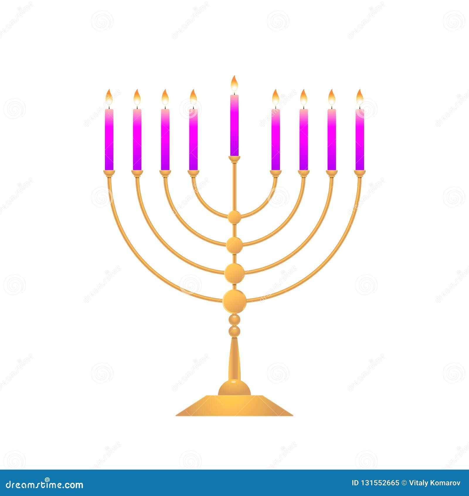 Menorah coloré pour des vacances de Hanoucca sur le fond blanc