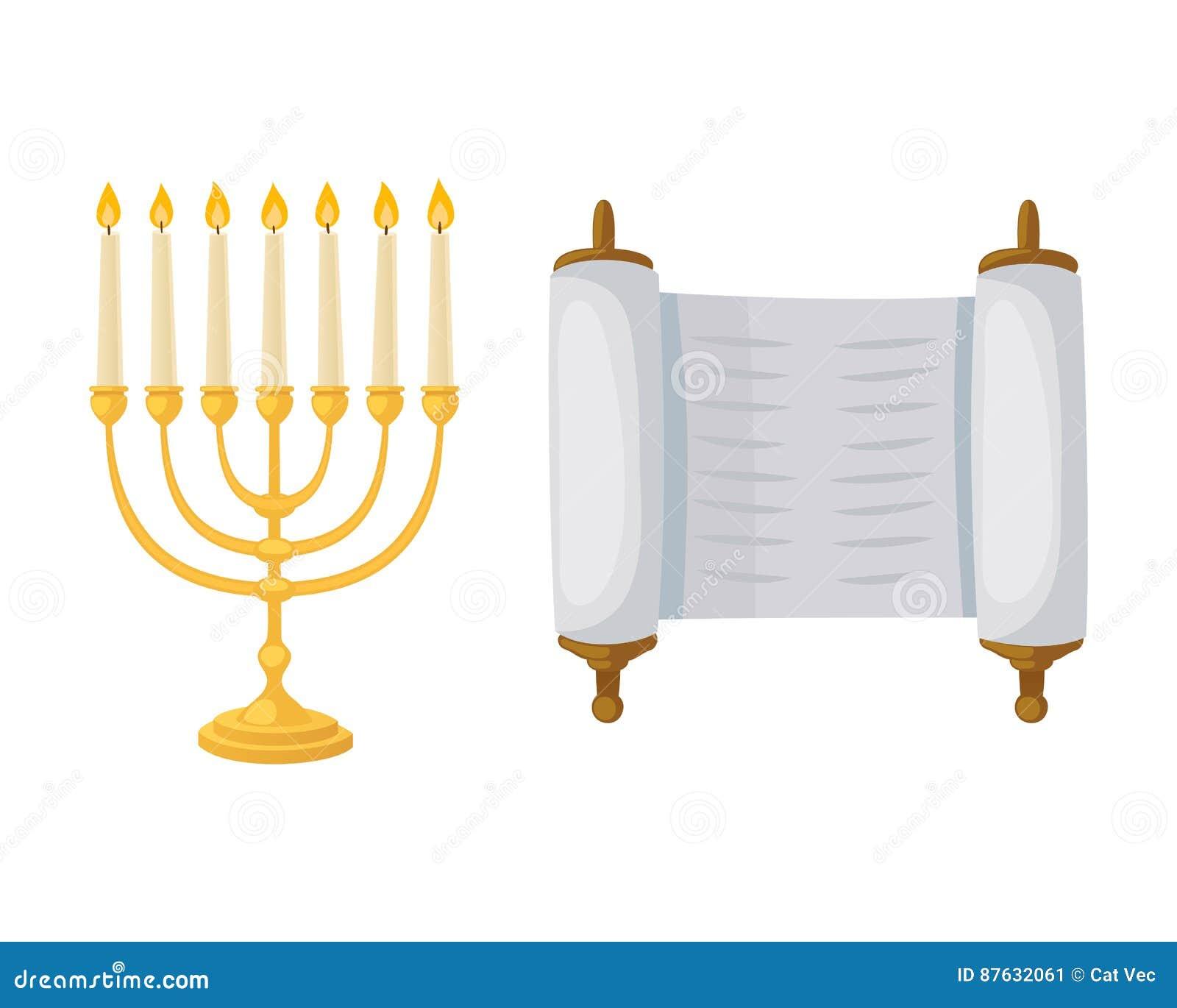 Menorah d or de juif avec le judaism orthodoxe hébreu de Hanoucca de flamme et de candélabre de décoration de tradition de religi