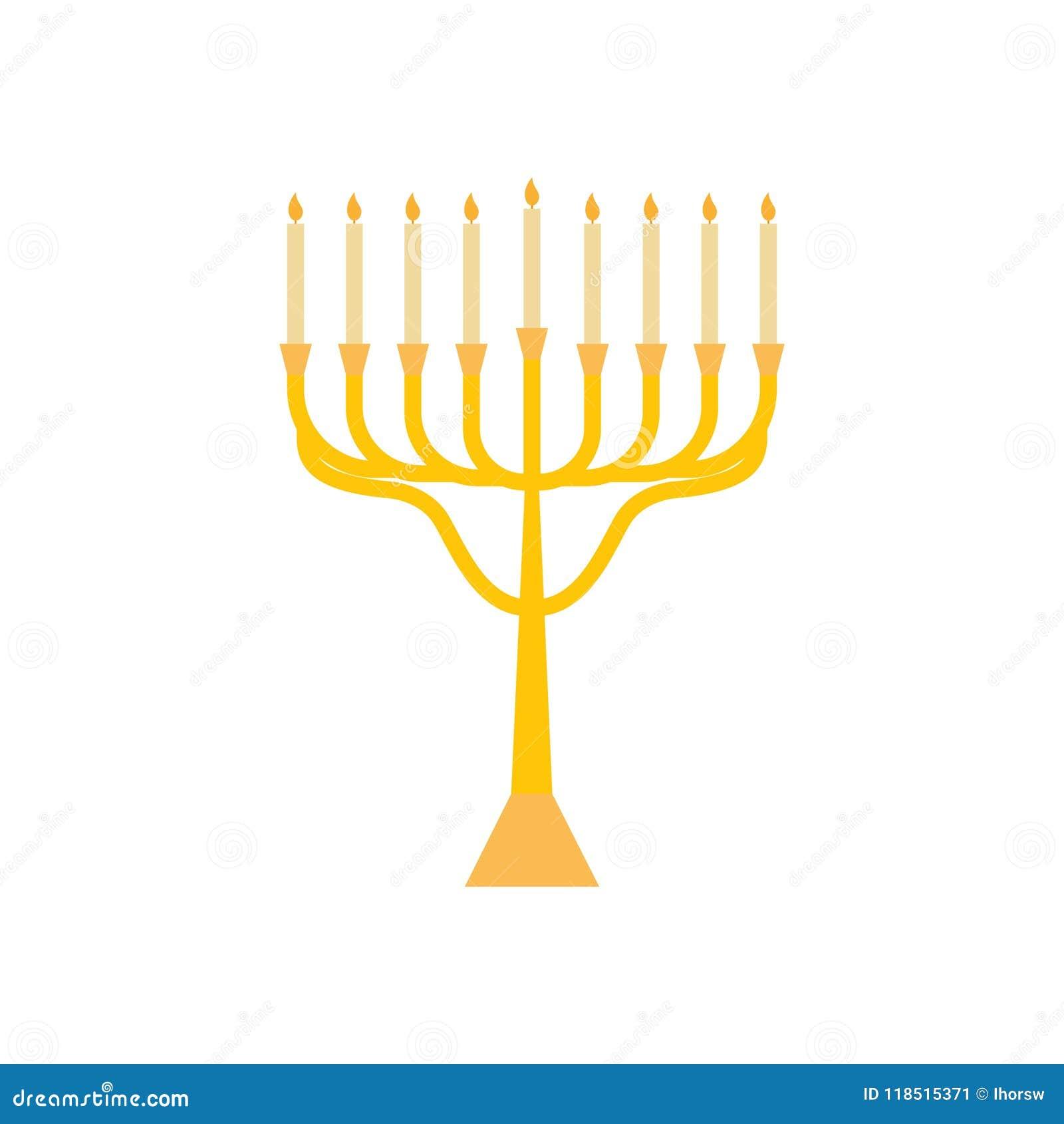 Menorah dla Hanukkah, płaska religii świeczek ikona Wektorowa menorah ilustracja