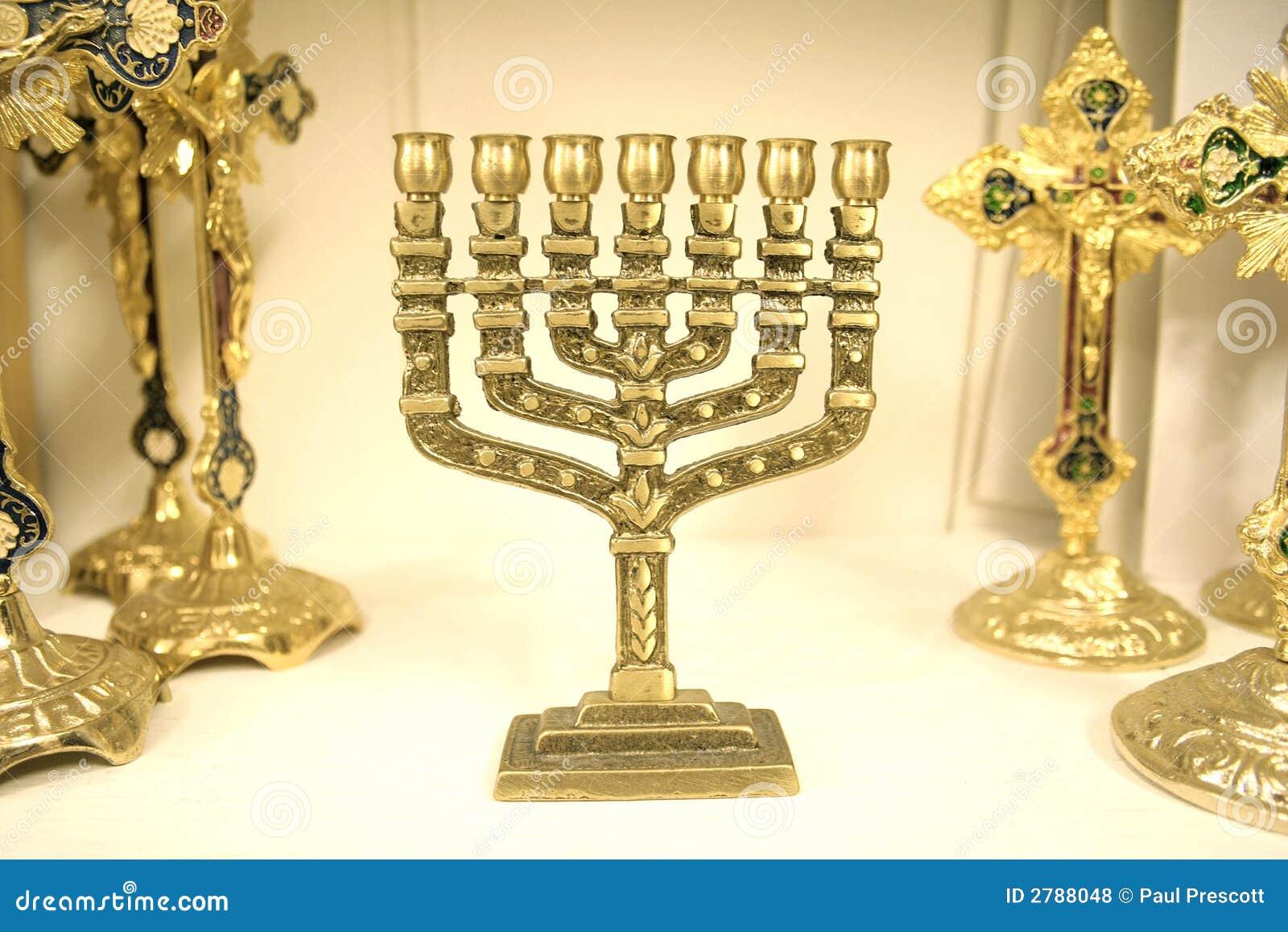 Menorah ebreo del lampadario a bracci