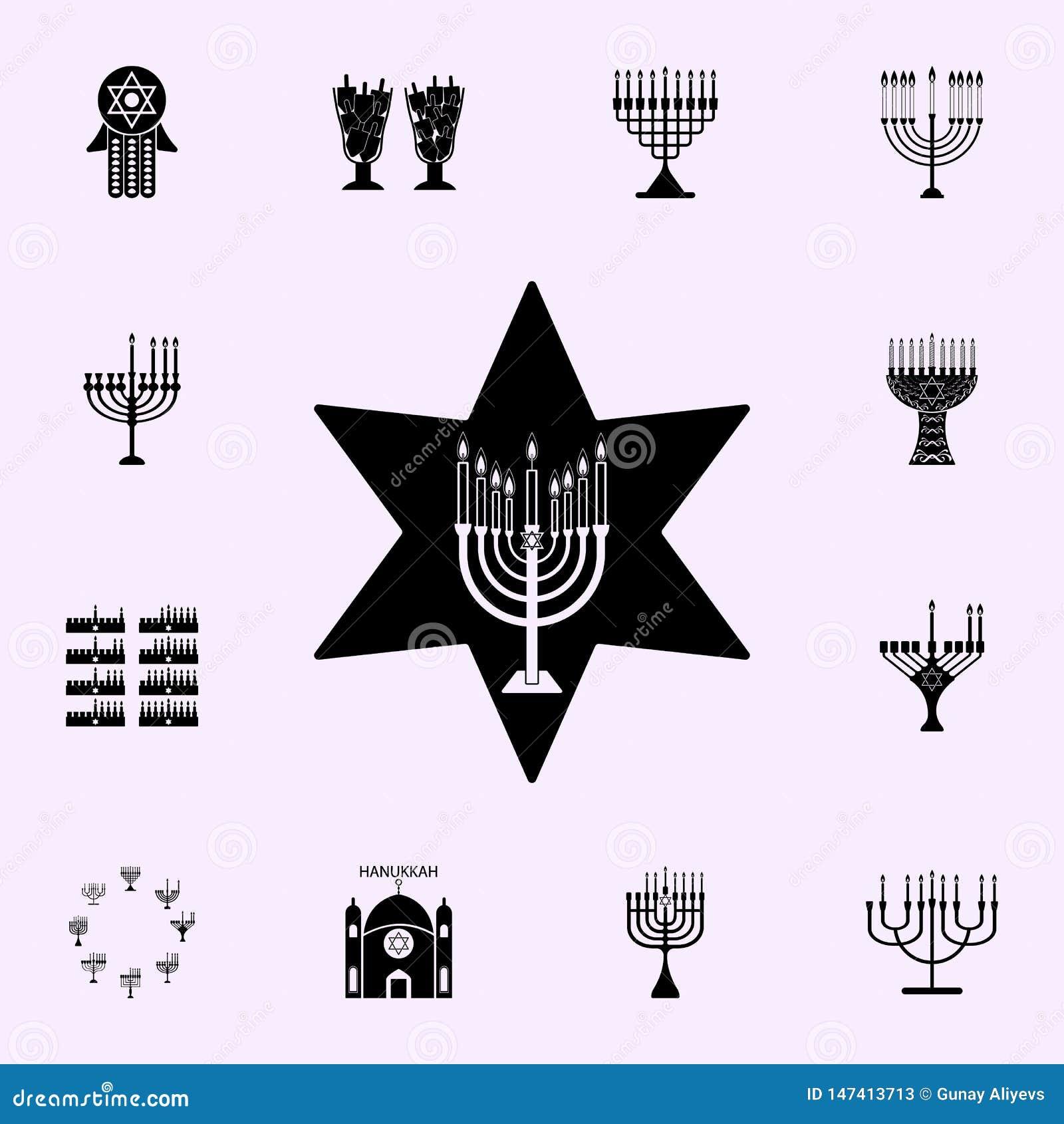 Menorah kaarsenpictogram Voor Web wordt geplaatst dat en het mobiele algemene begrip van Chanoekapictogrammen