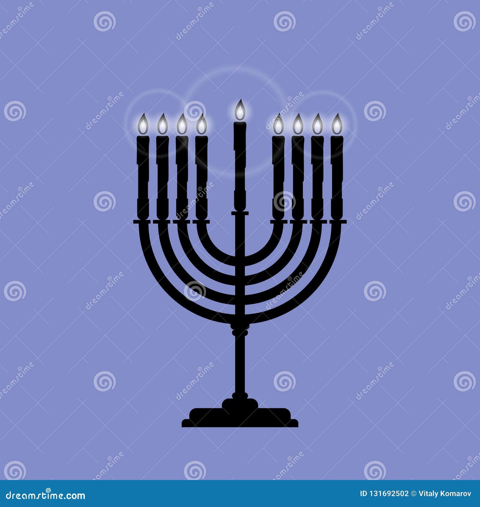 Menoran är ett vektorsymbol för Chanukkah som isoleras på blått