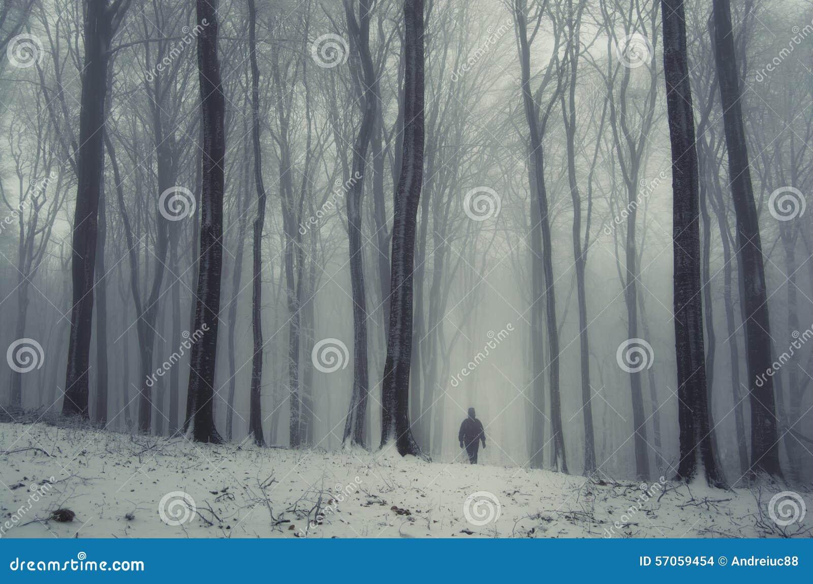 Mens in bevroren bos in de winter met mist