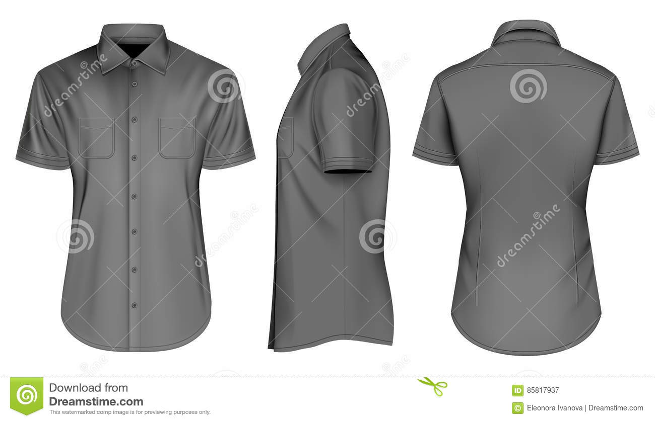 Mens Black Short Sleeve Shirts With Open Collar Stock Vector