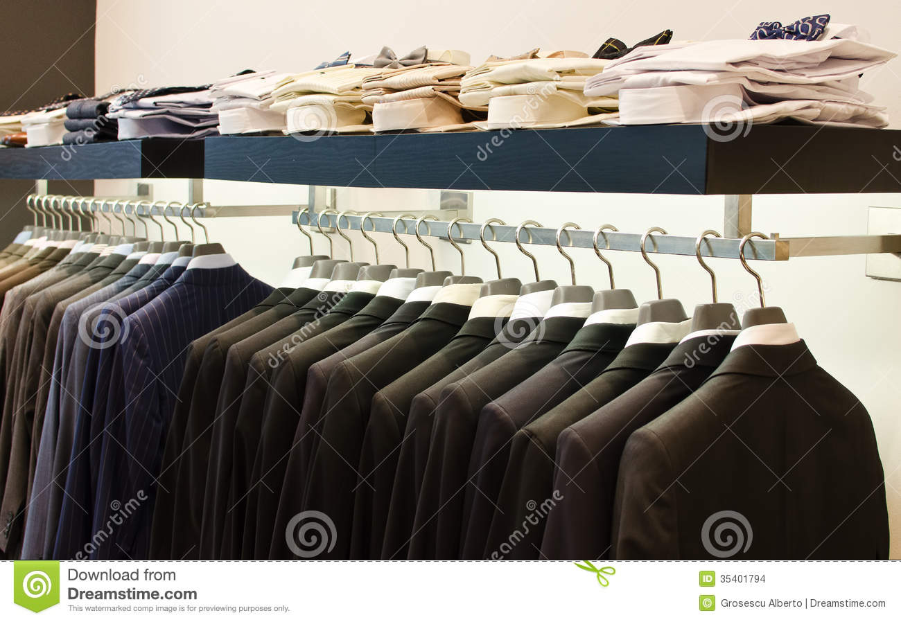 Stock Images: Mens clothing store