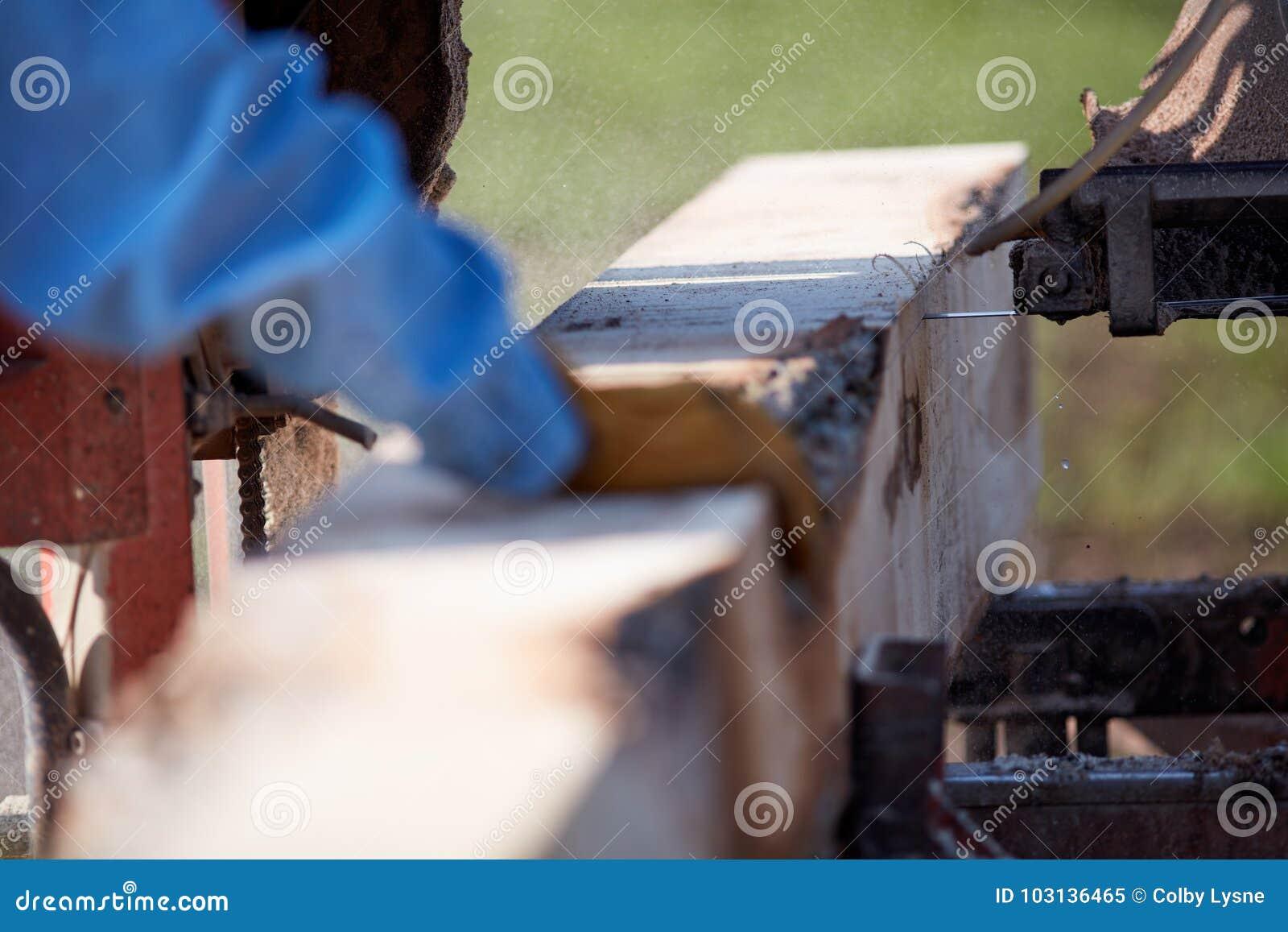 Mens die aan een draagbaar timmerhout van het zaagmalen werken