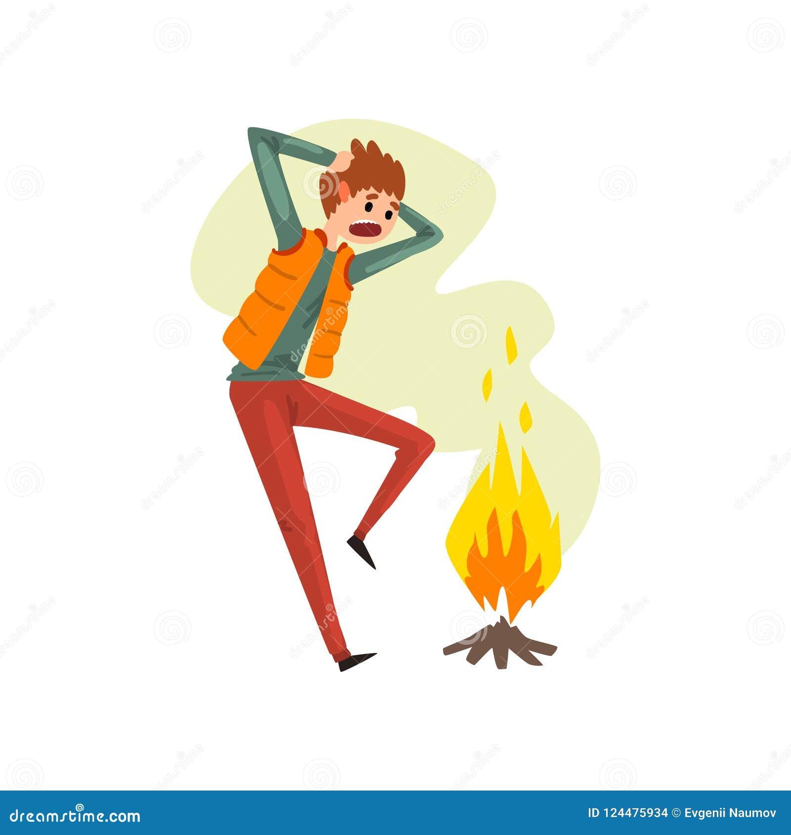 Mens die aan pyrophobia, irrationele vrees lijden voor brand, de menselijke vectorillustratie van het vreesconcept op een witte a