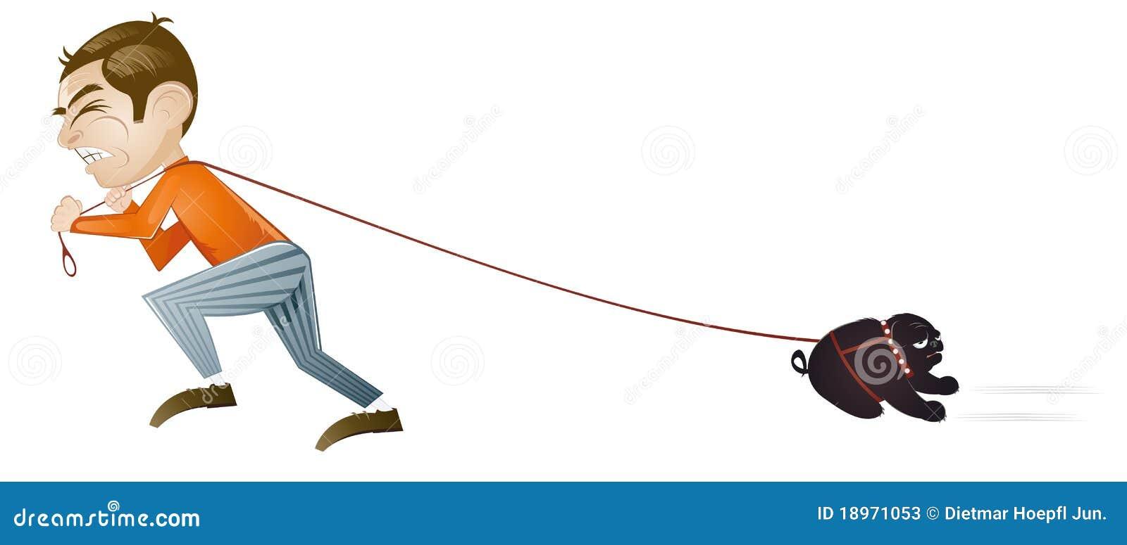 Mens die aarzelende hond trekt