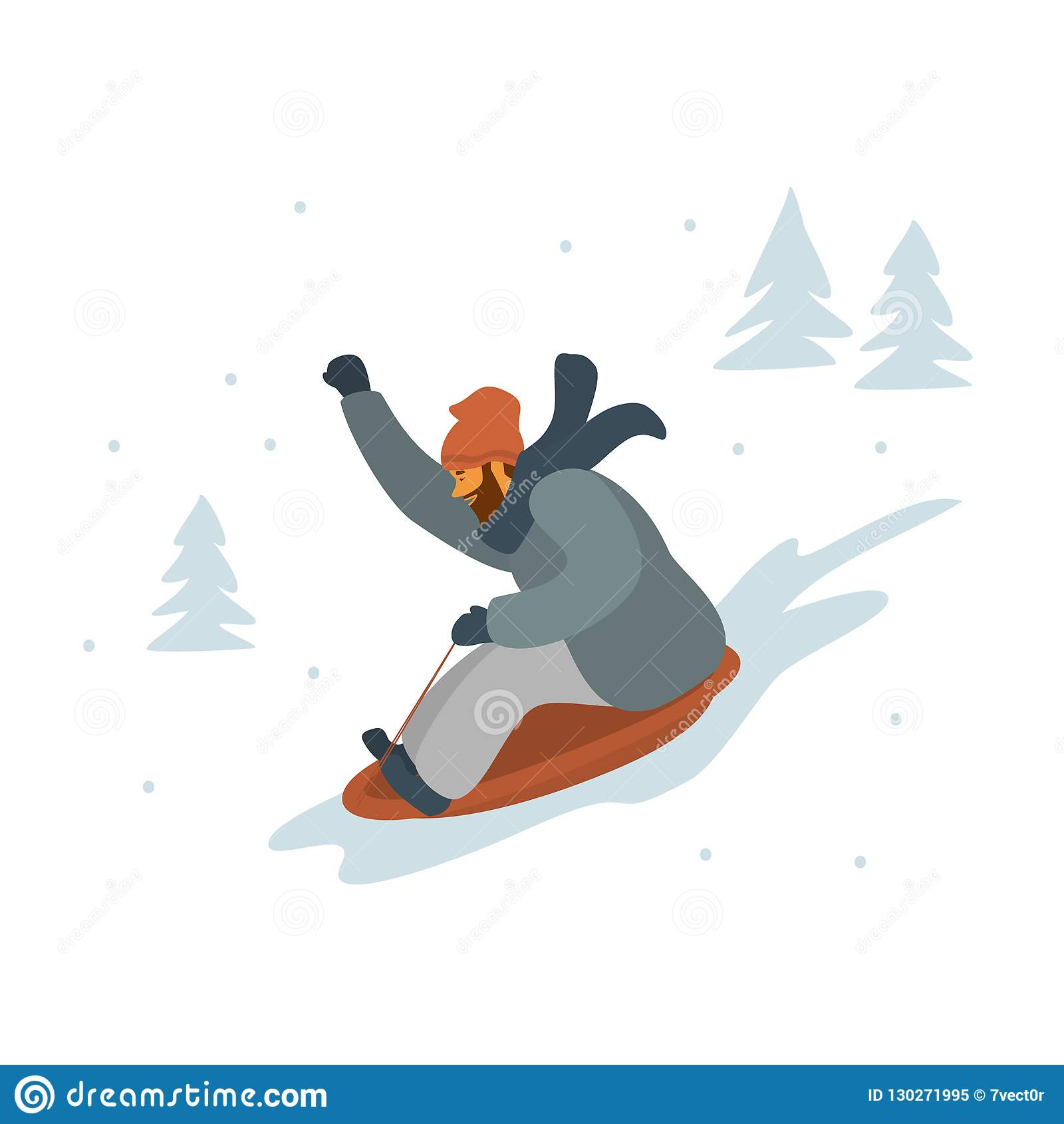 Mens die bergaf geïsoleerde vector sledding