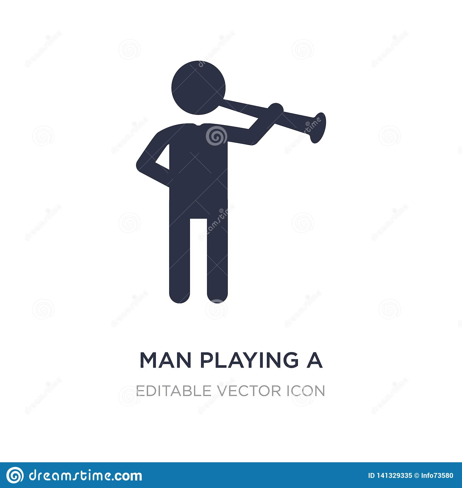 Mens die een fluitpictogram op witte achtergrond spelen Eenvoudige elementenillustratie van Mensenconcept