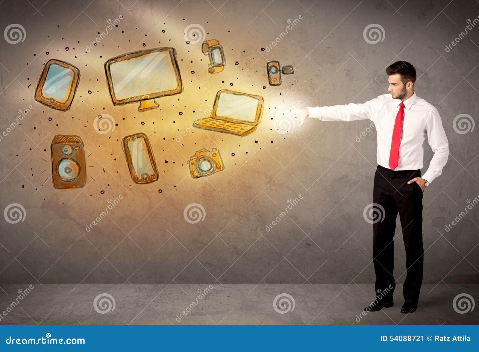 Mens die hand getrokken elektronische apparaten werpen