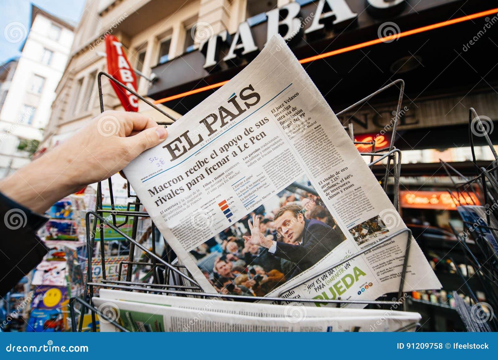 Mens die internationale pers met Emmanuel Macron en Marien l kopen