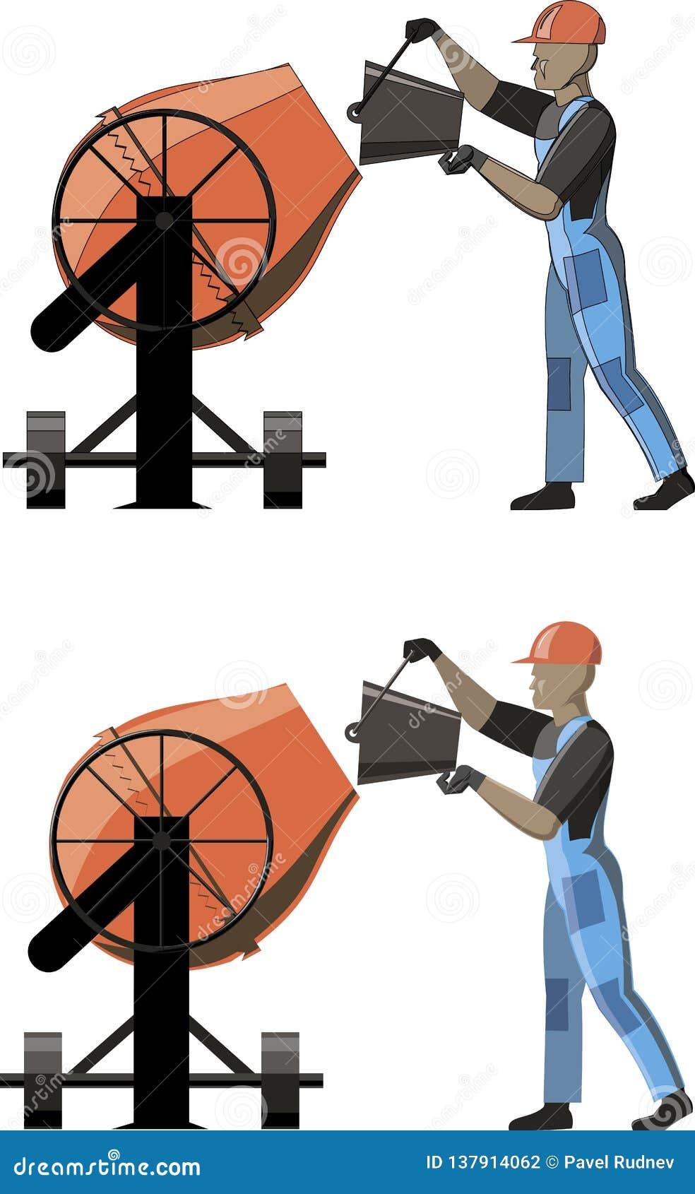 Mens die met concrete mixer werken