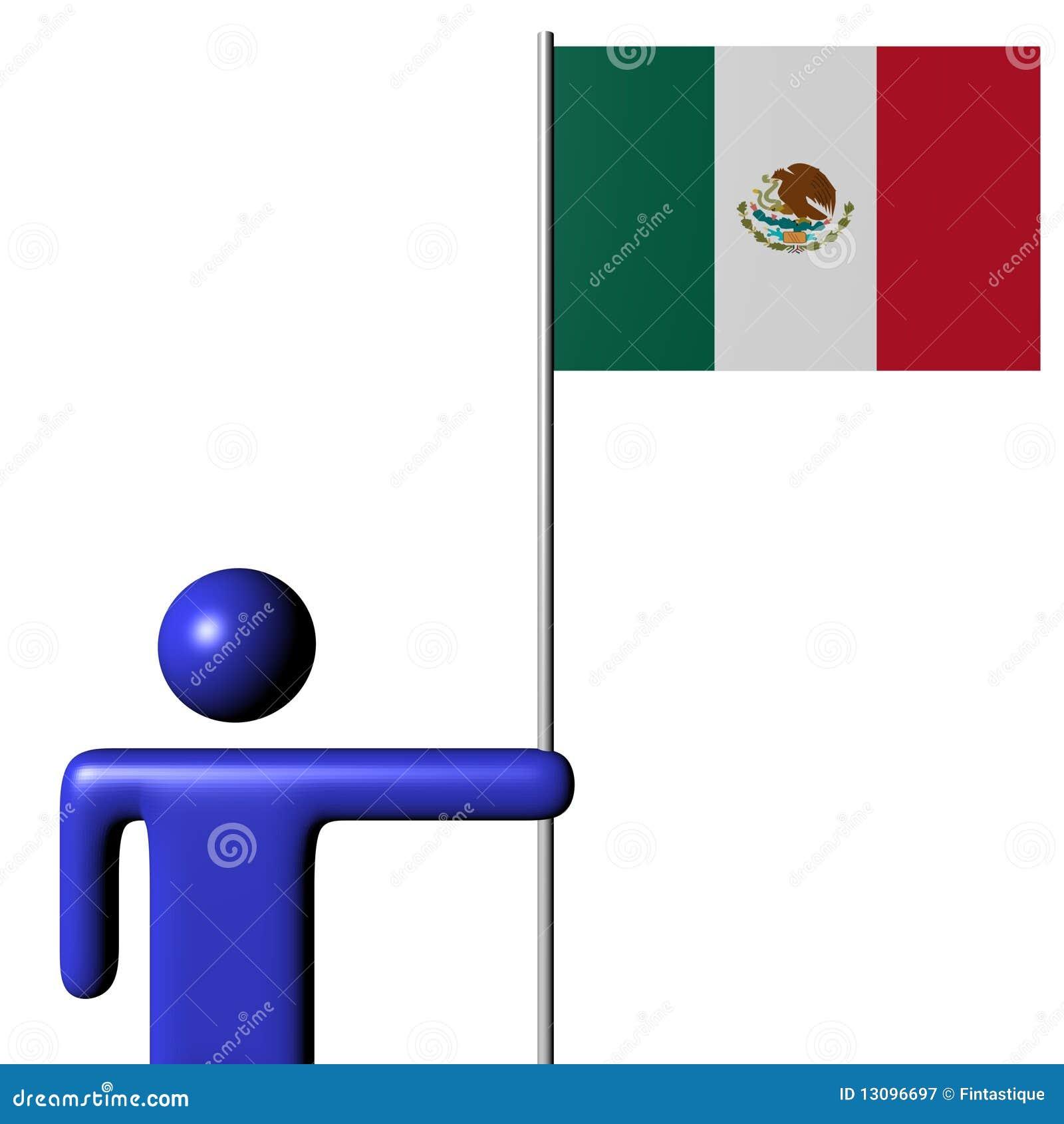 Mens die Mexicaanse vlag houdt