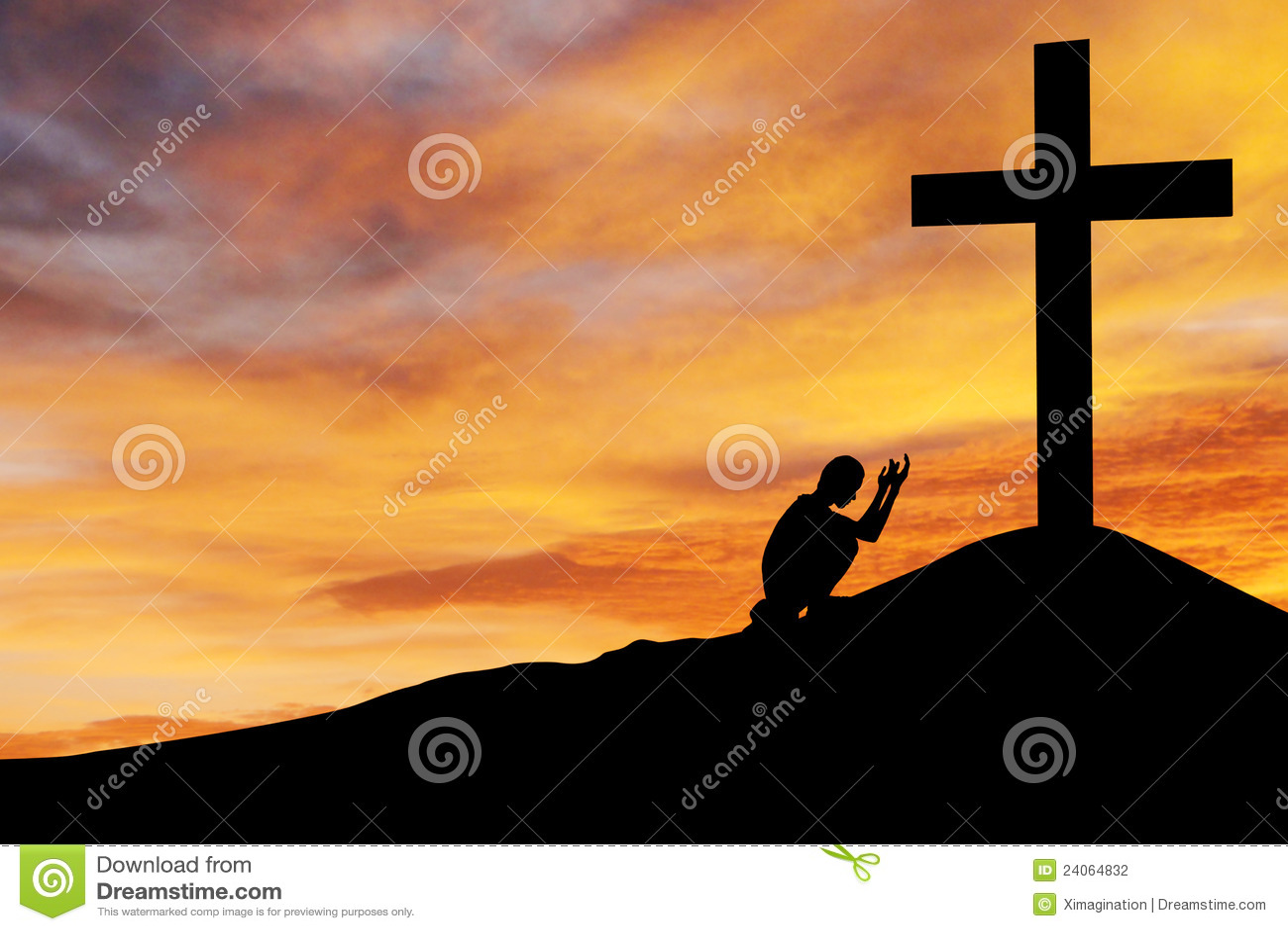 Mens Die Onder Het Kruis Bidt Stock Foto Afbeelding