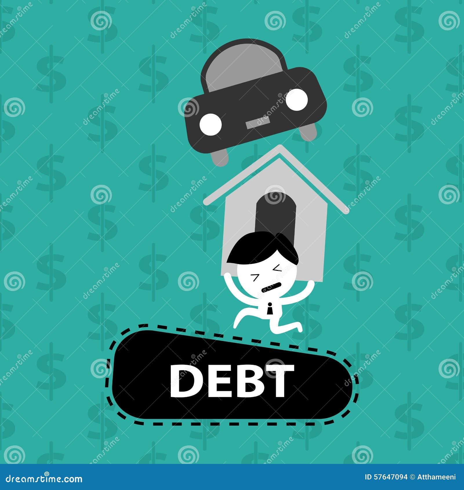 Mens die op schulden, huislening, auto, rekeningen dragen