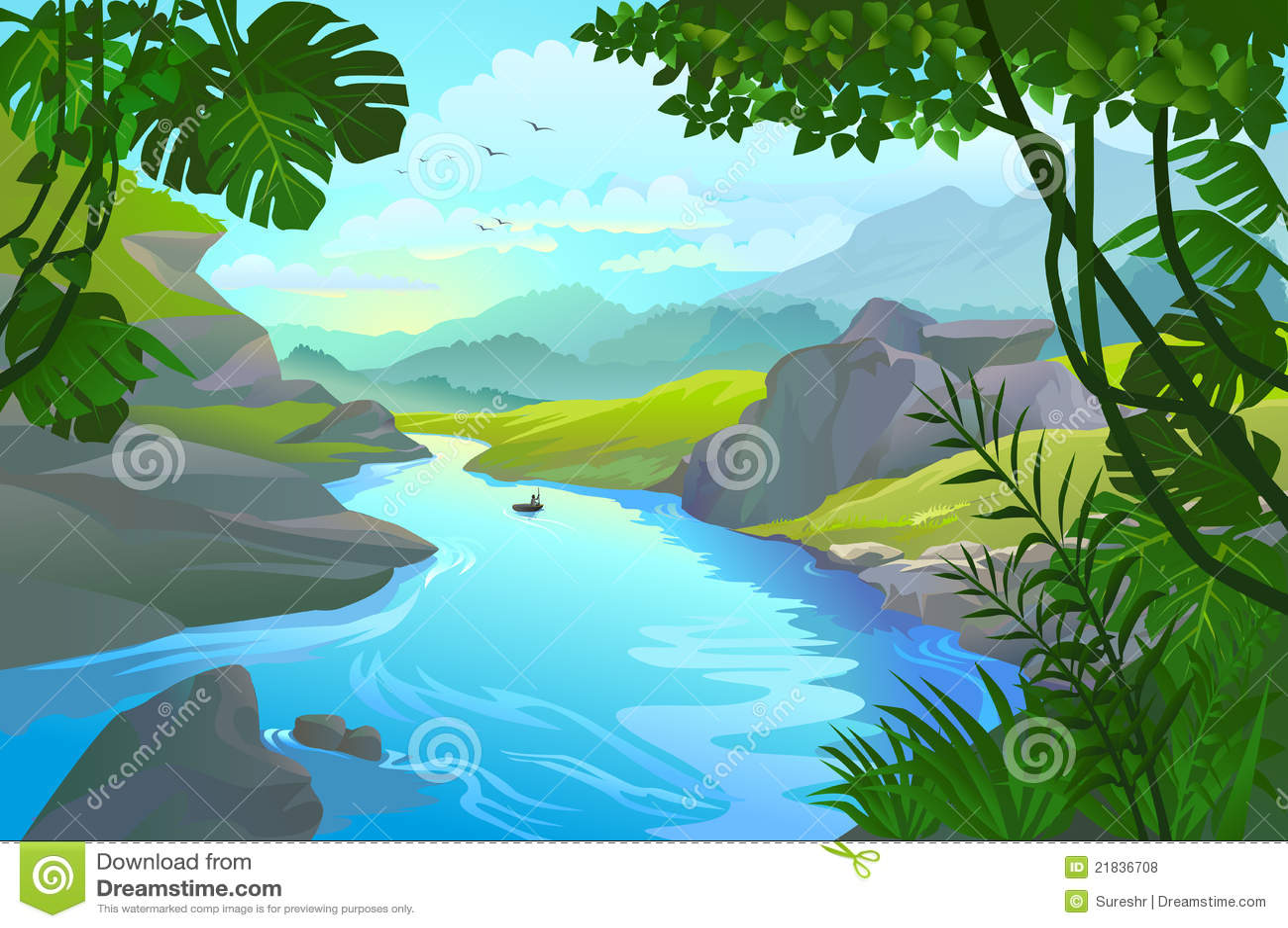 Mens die zijn kleine boot roeit door een bergrivier