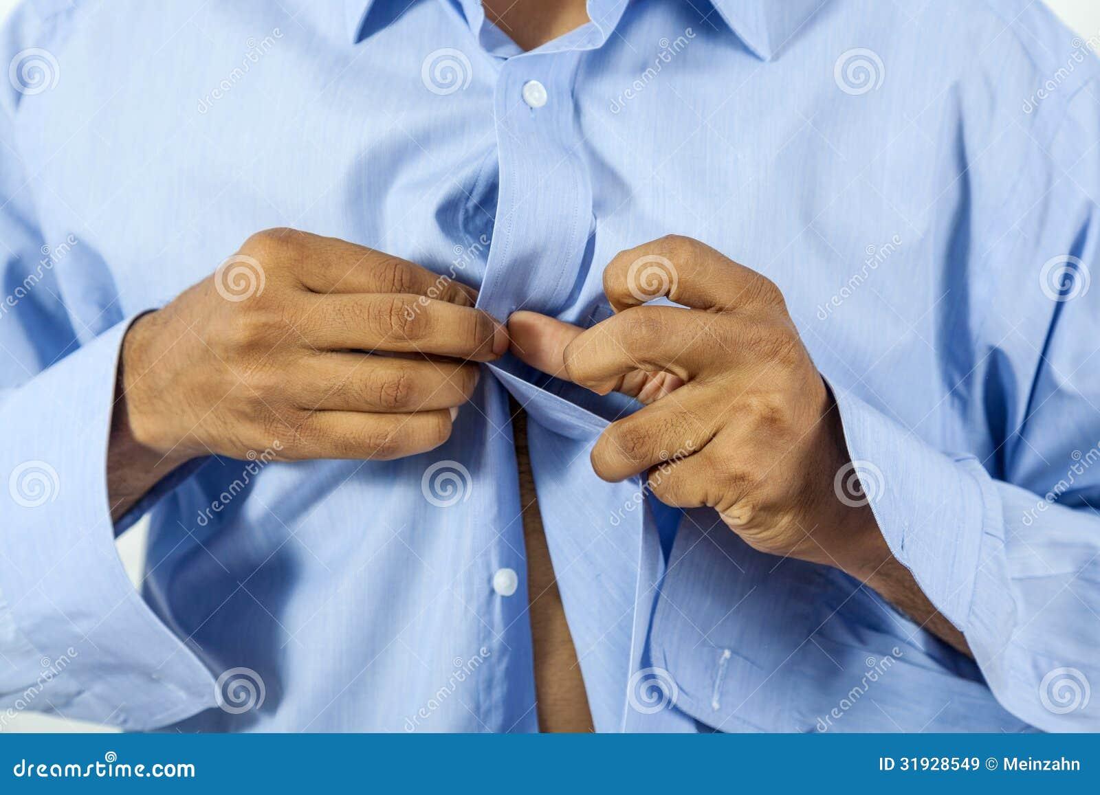 Die Stock Afbeelding Mens Zijn Dichtknopen Overhemd CxoeBd
