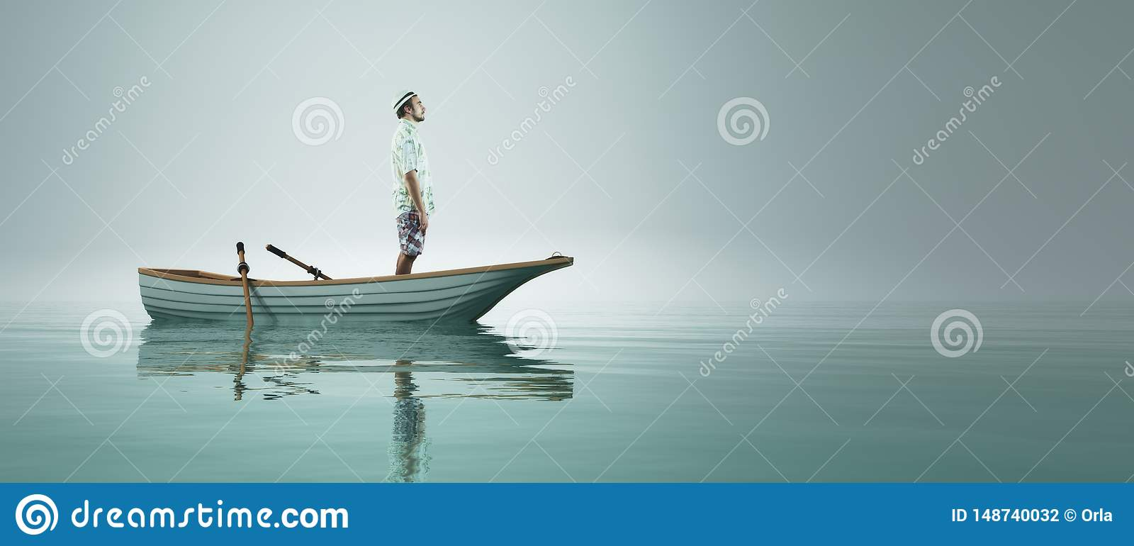 Mens in een boot