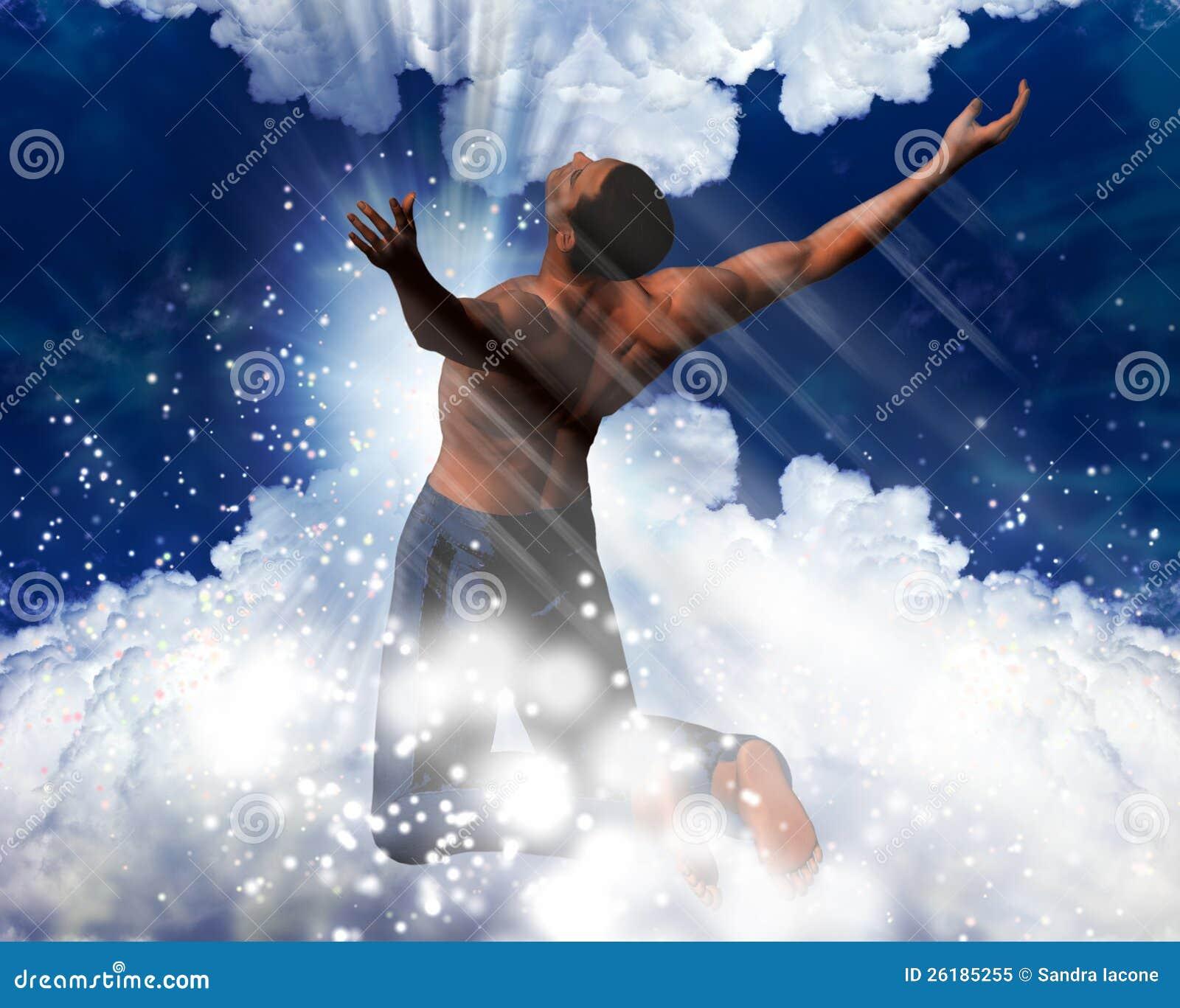 Mens in een hemels licht