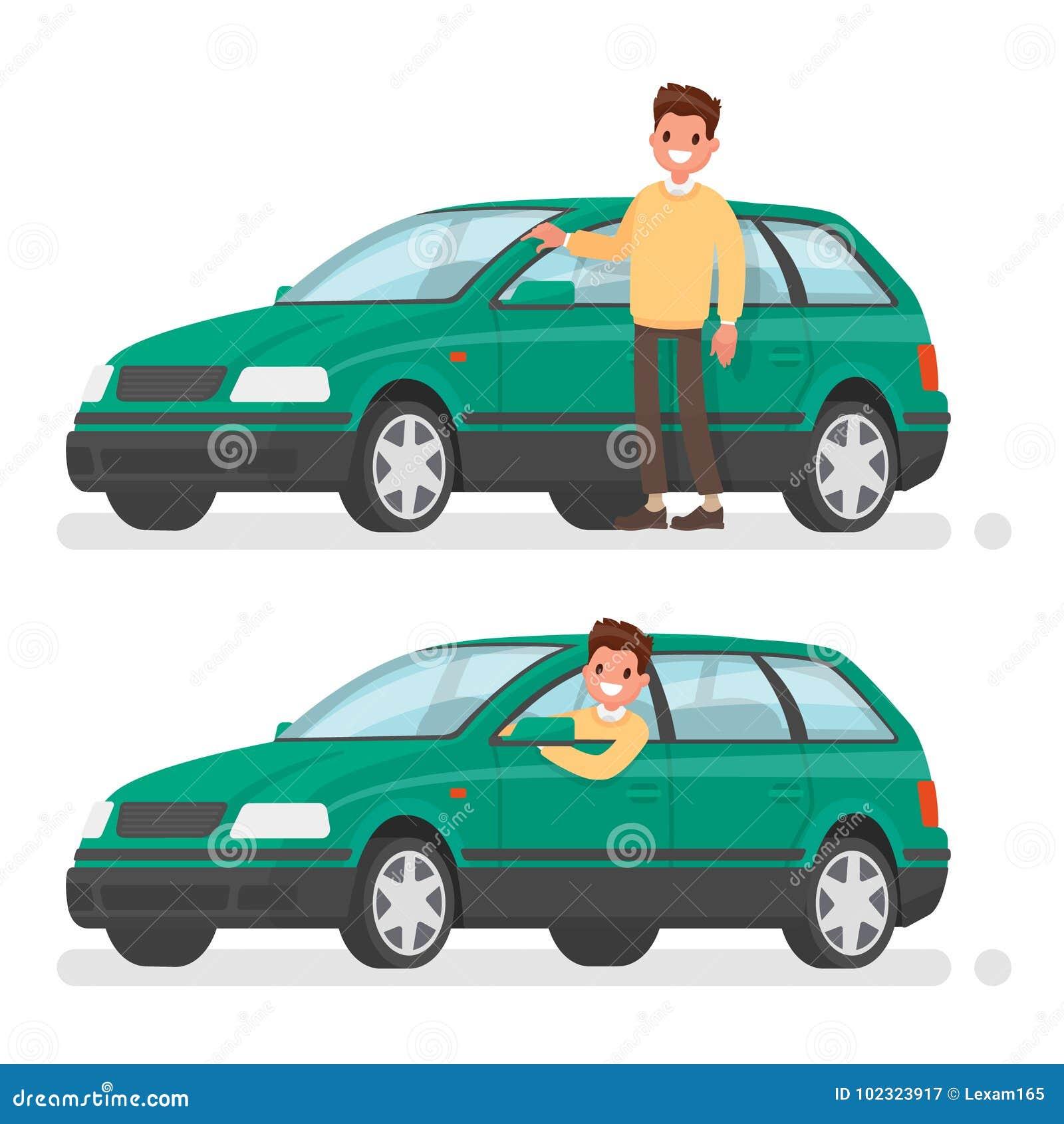 Mens en auto Een gelukkige koper van een nieuw voertuig