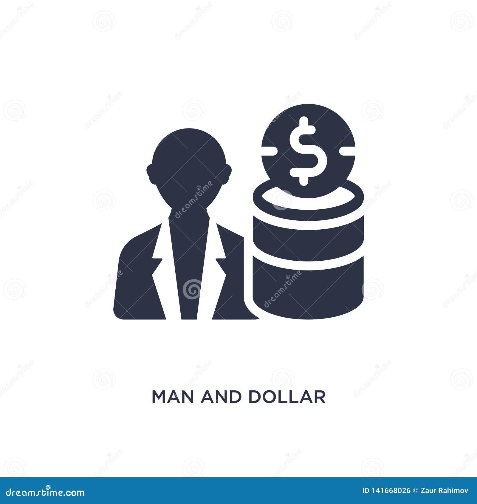 Mens en dollarmuntstukpictogram op witte achtergrond Eenvoudige elementenillustratie van productiviteitsconcept