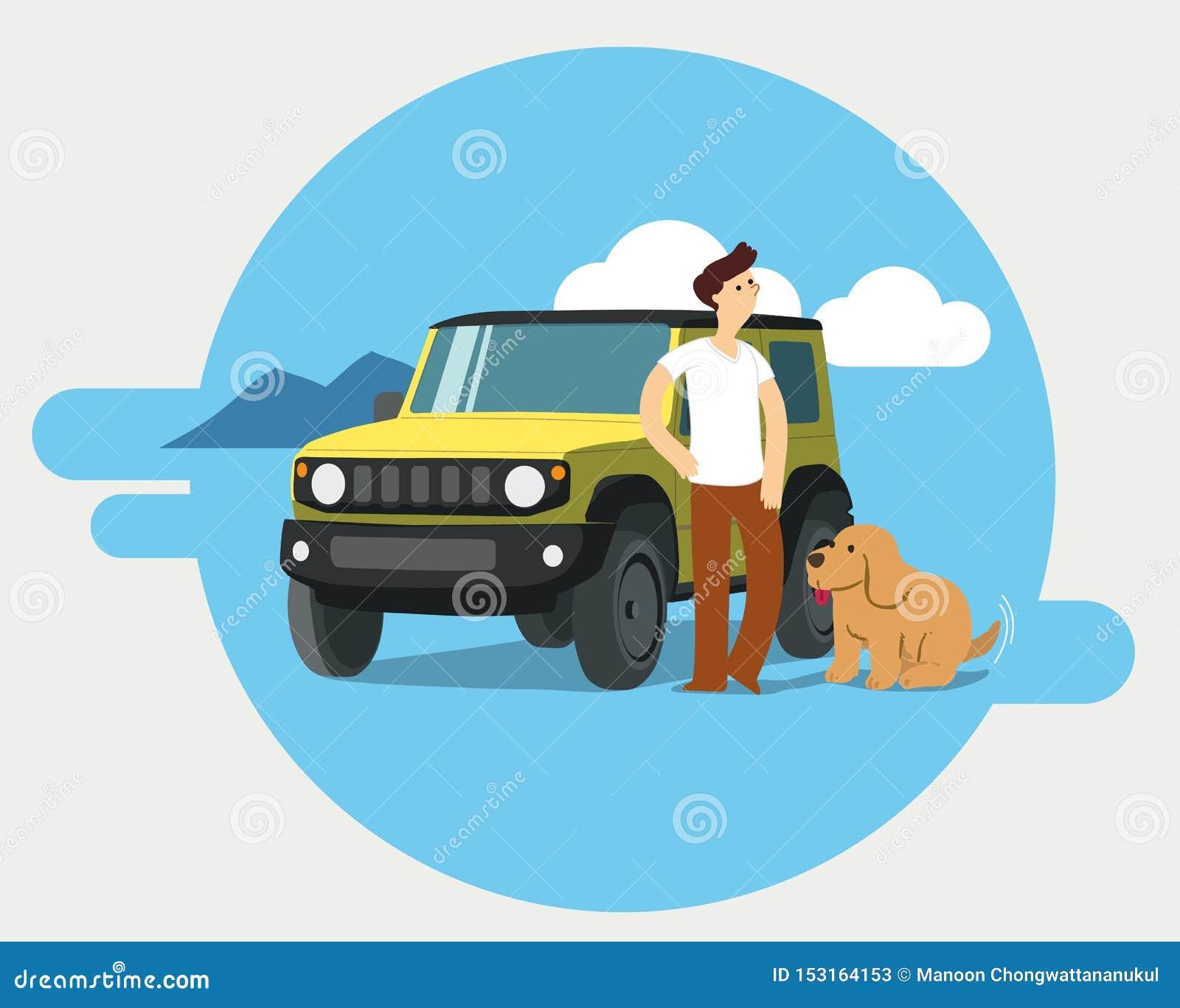 Mens en hond op wegreis
