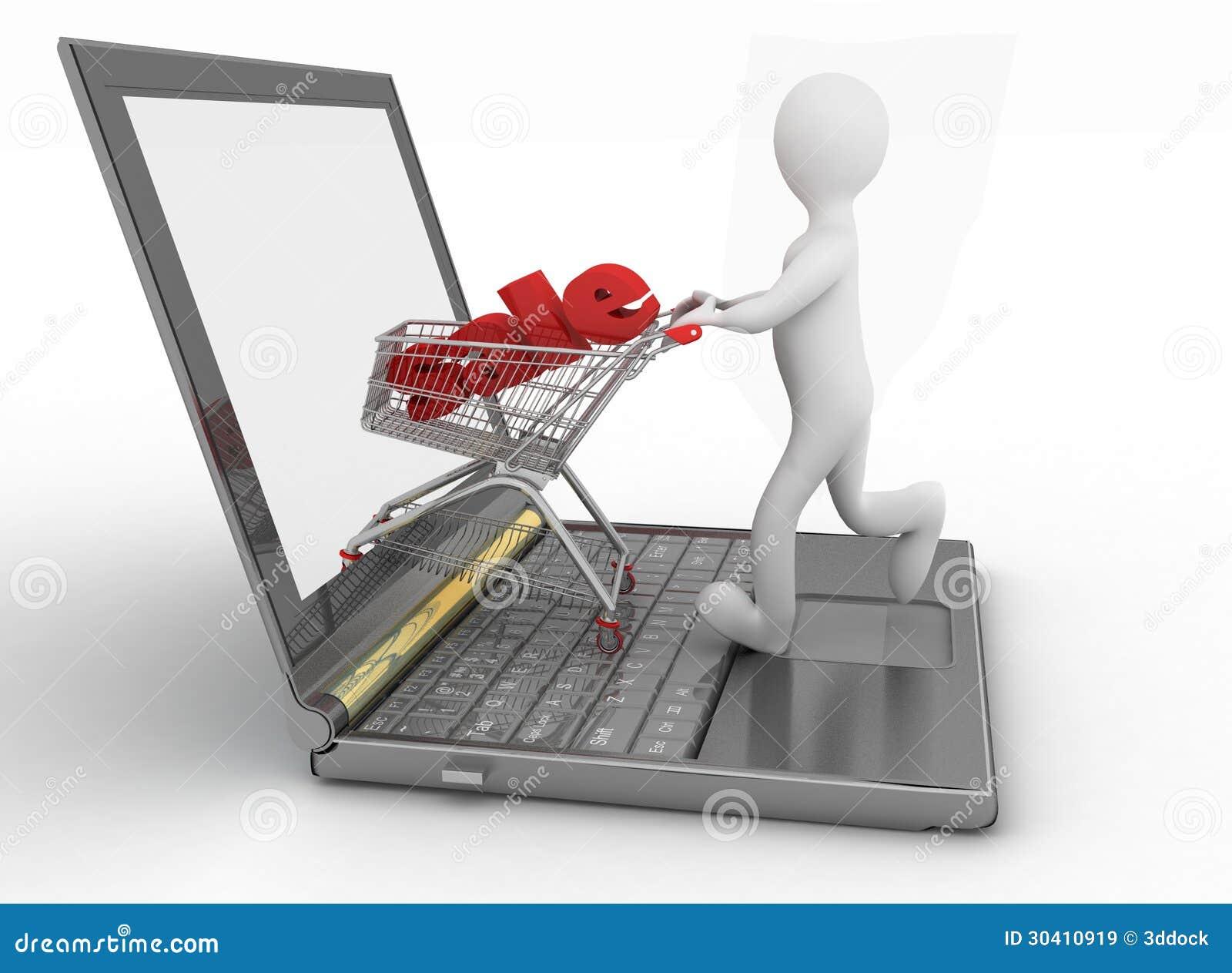 Mens en laptop het online winkelen