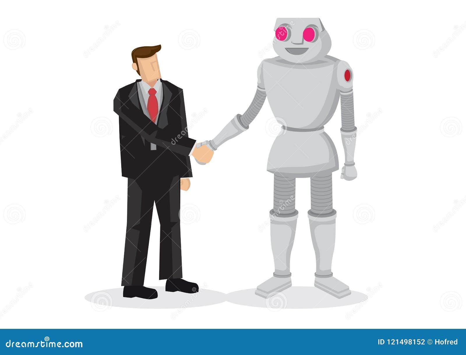 Mens en robothand het schudden Concept het bespreken van zaken, c