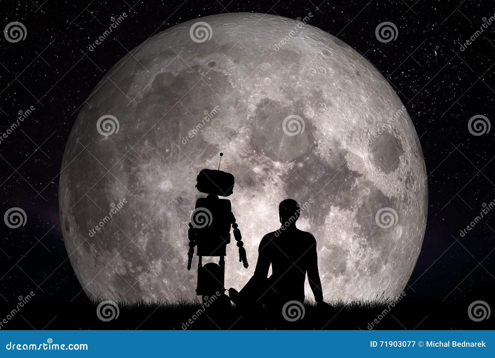 Mens en zijn robotvriend die op maan kijken Toekomstig concept, kunstmatige intelligentie