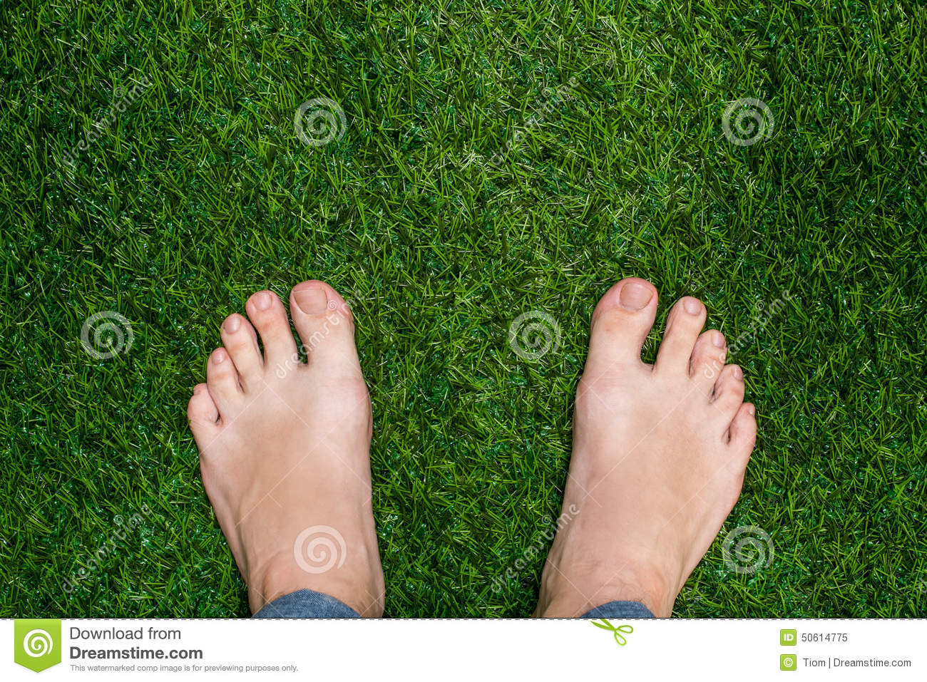 Mens Feet Standing On Grass Close Up Stock Image Image