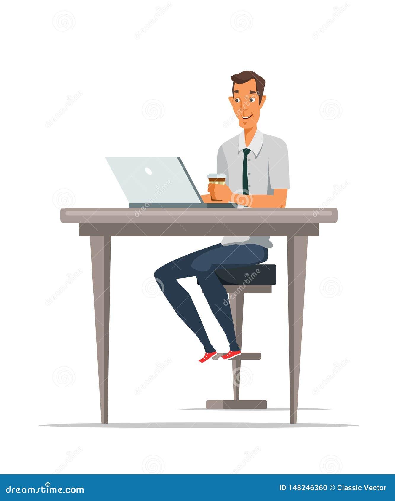 Mens gebruikend laptop en drinkend koffieillustratie