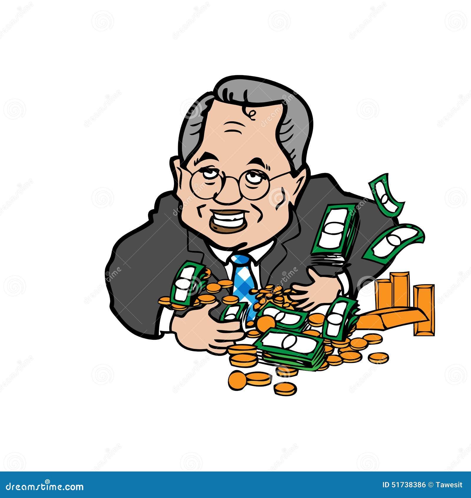 Mens gulzig van geldbeeldverhaal