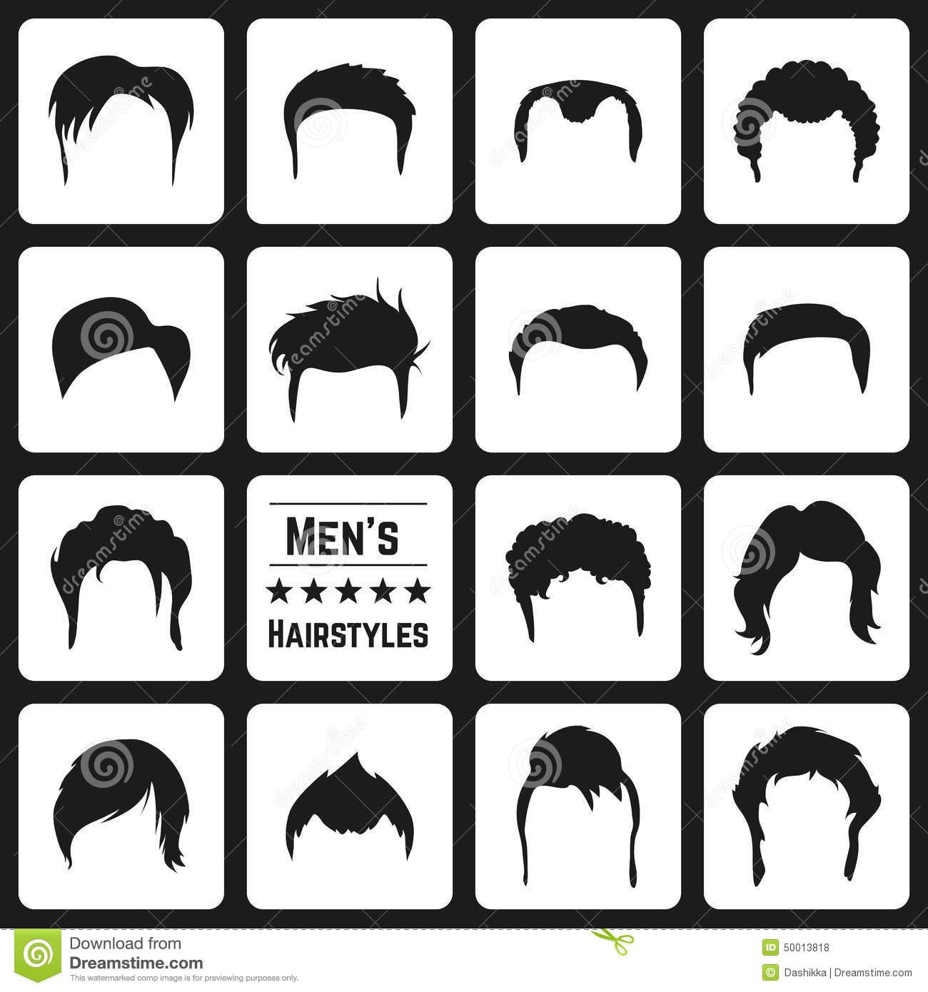 Mens Haircuts Stock Vector Illustration Of Outline Human 50013818