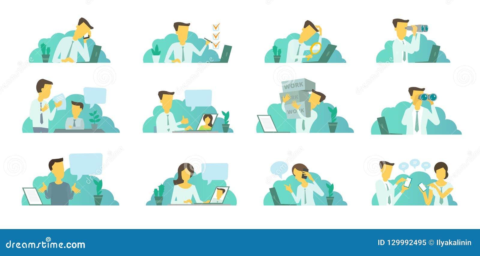 Mens in het bureau op het werk Het zoeken van laptop Correspondentie, mededeling en probleem het oplossen