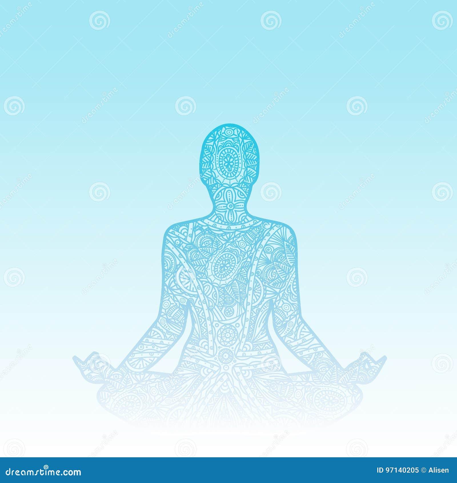 Mens in meditatie - het silhouet van het krabbel zentangle ornament