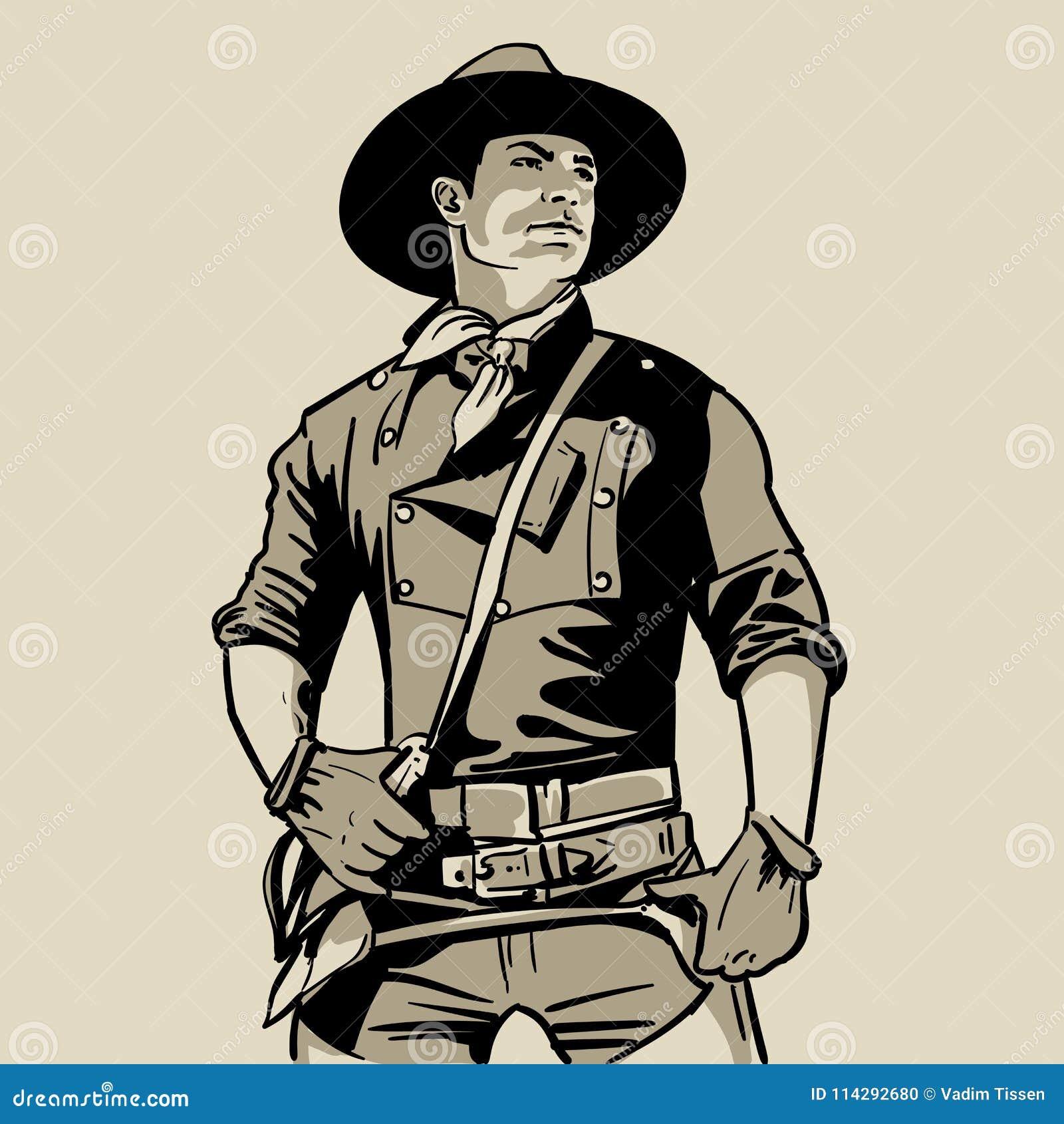 Mens met cowboyhoed en overhemd en sjaal westelijk Portret De digitale Tekening van de Schetshand Illustratie