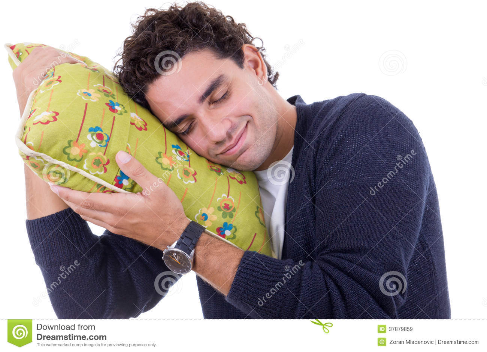 Mens met een hoofdkussen die terwijl en vreedzaam met ser rusten dromen