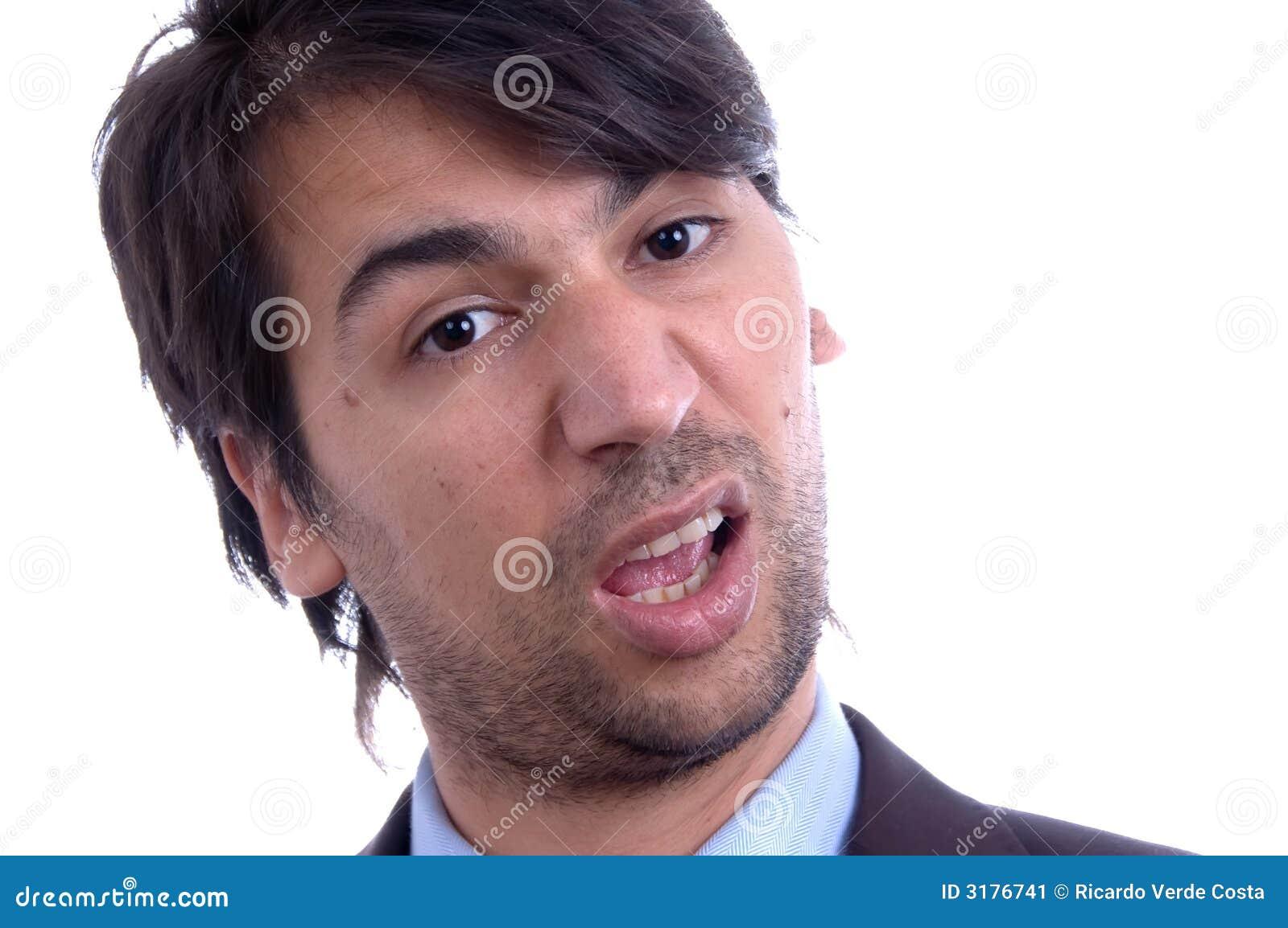 Mens met grappig gezicht stock afbeelding afbeelding 3176741 - Ogen grappig ...