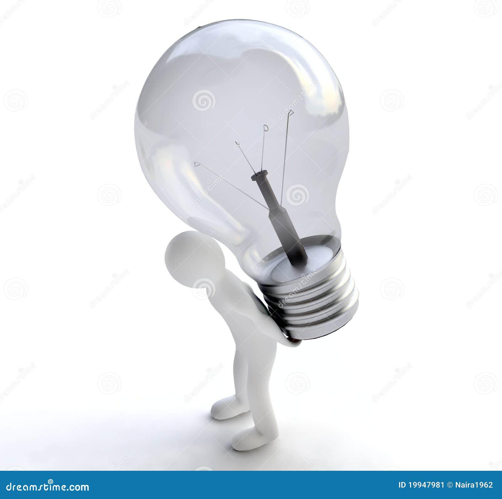 Mens met Lightbulb in 3D