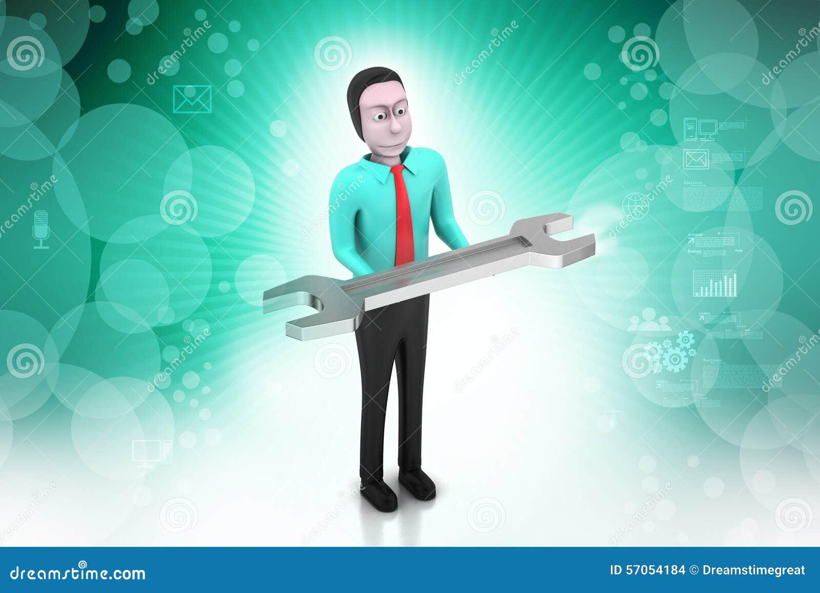 Mens met moersleutel
