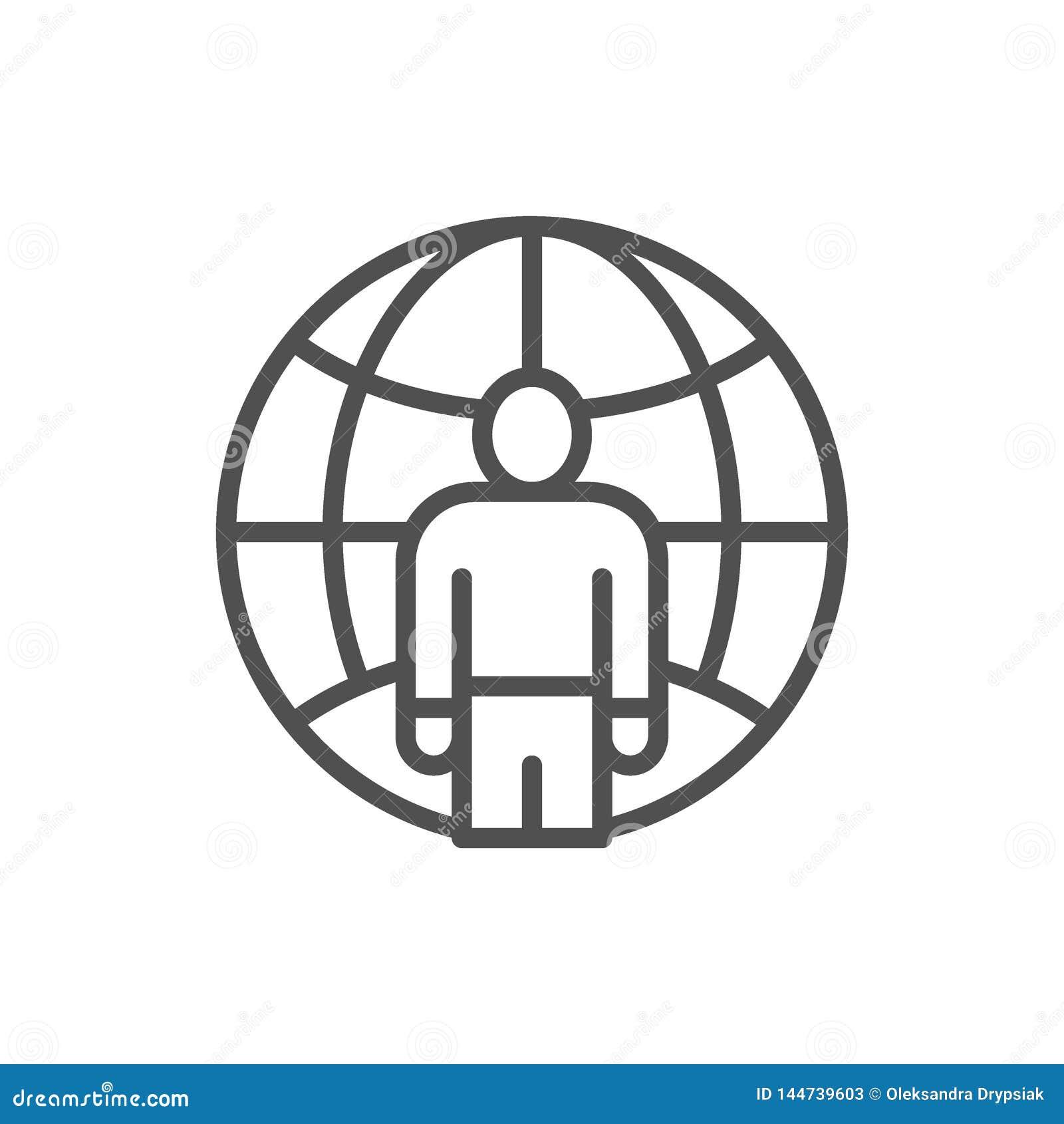 Mens met planeet, freelancer, het internationale pictogram van de werknemerslijn