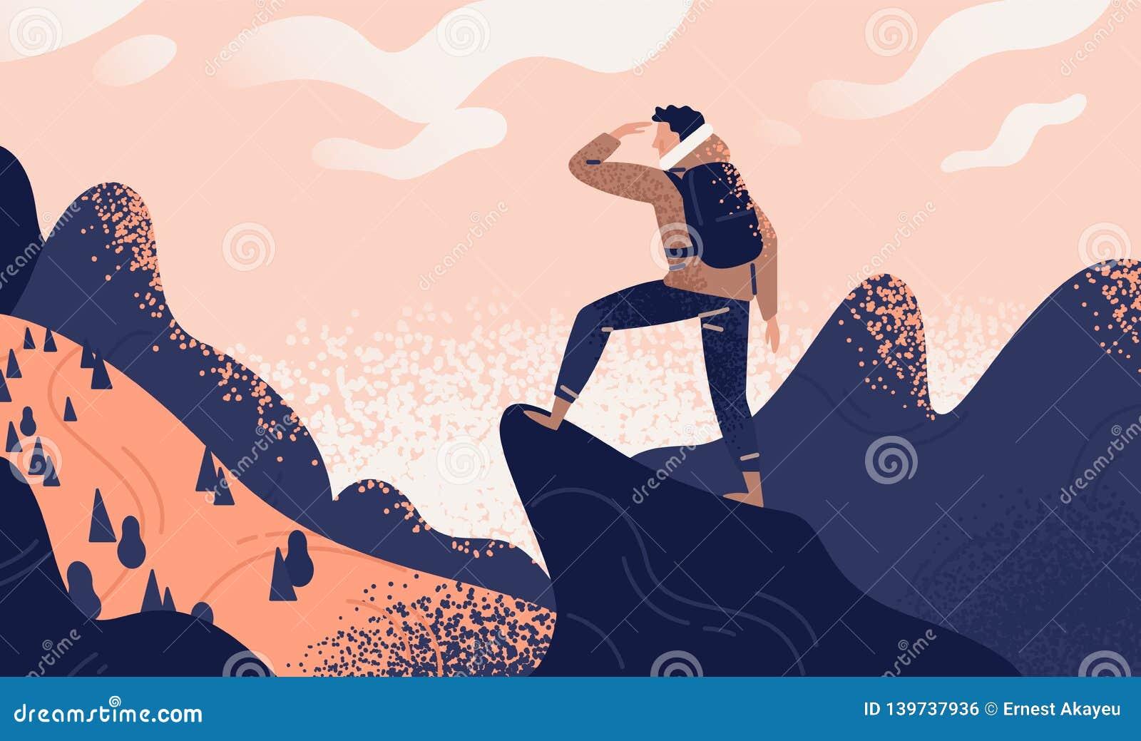 Mens met rugzak, reiziger of ontdekkingsreiziger die zich bovenop berg of klip bevinden en op vallei kijken Concept van