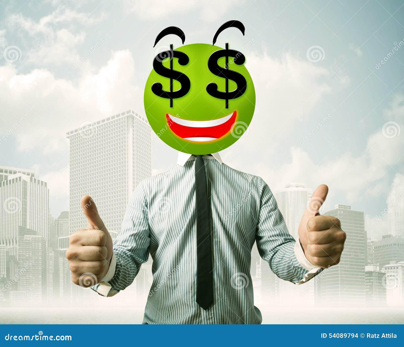 Mens met smileygezicht van het dollarteken