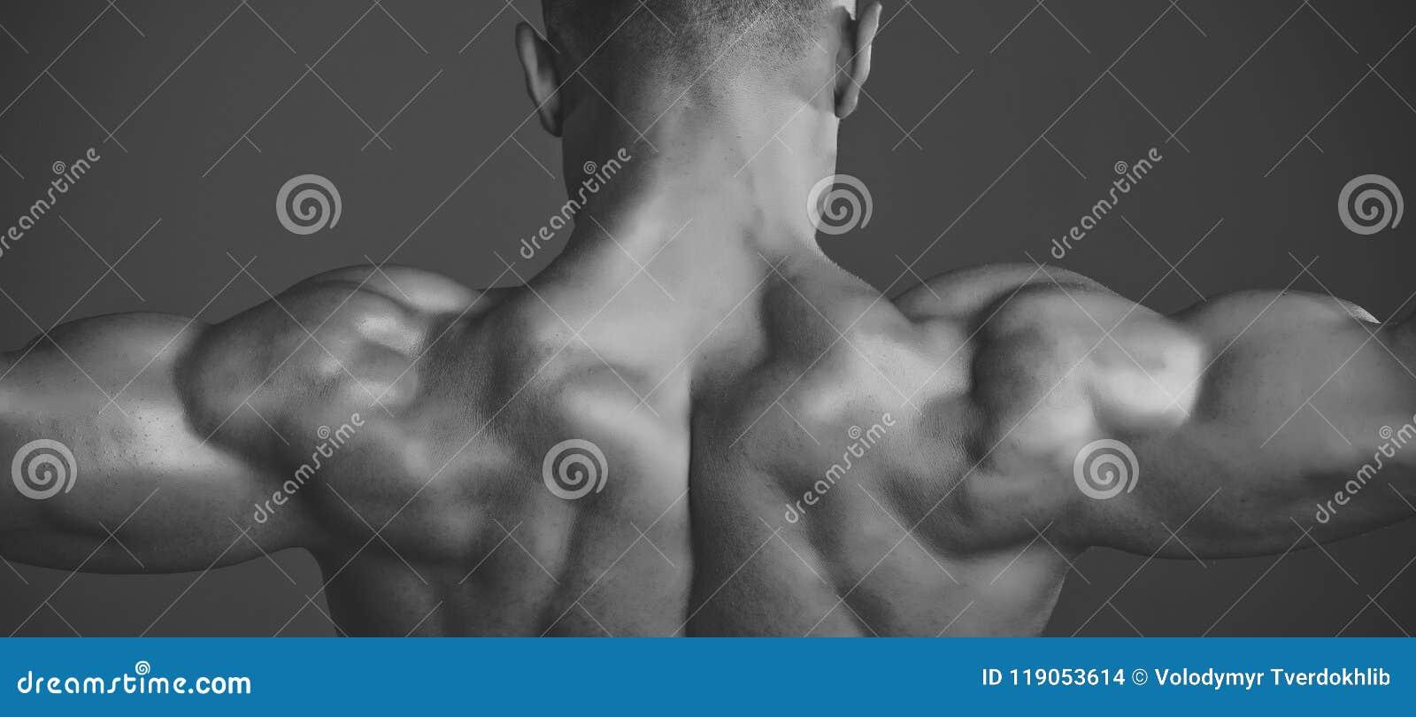 Mens met spier natte lichaam en rug Bussportman die bicepsen en triceps tonen
