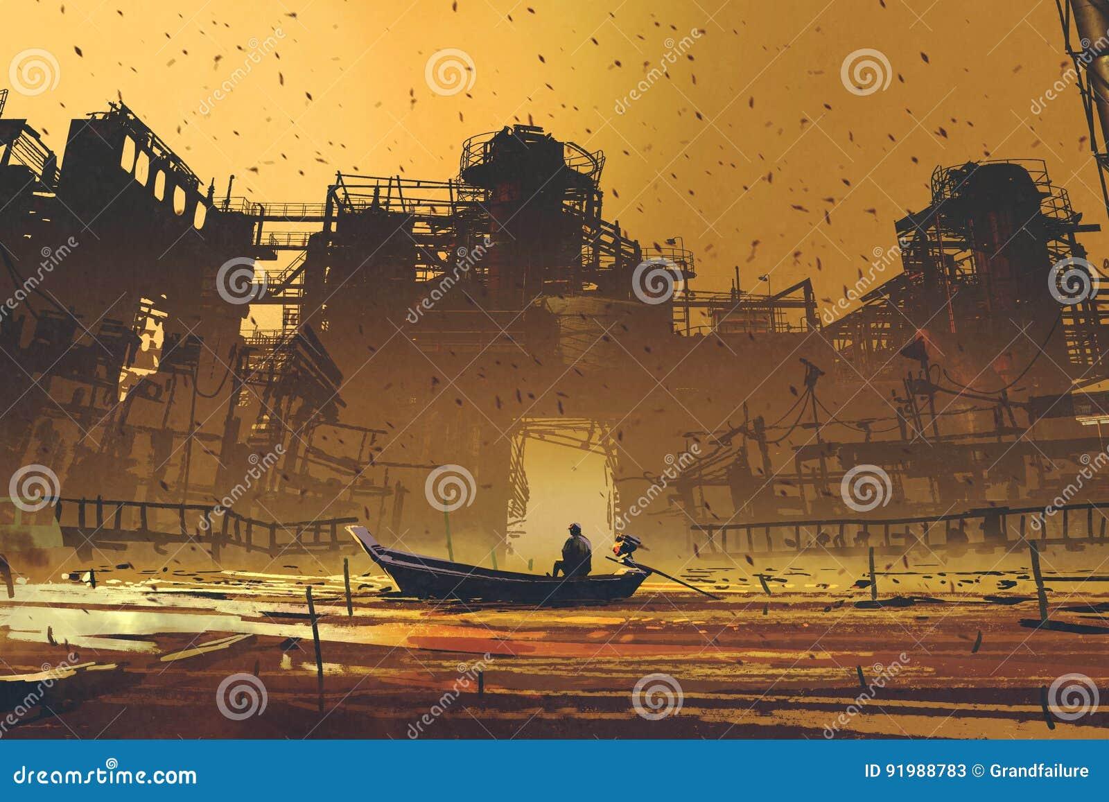 Mens op een boot die in het overzees tegen verlaten gebouwen drijven