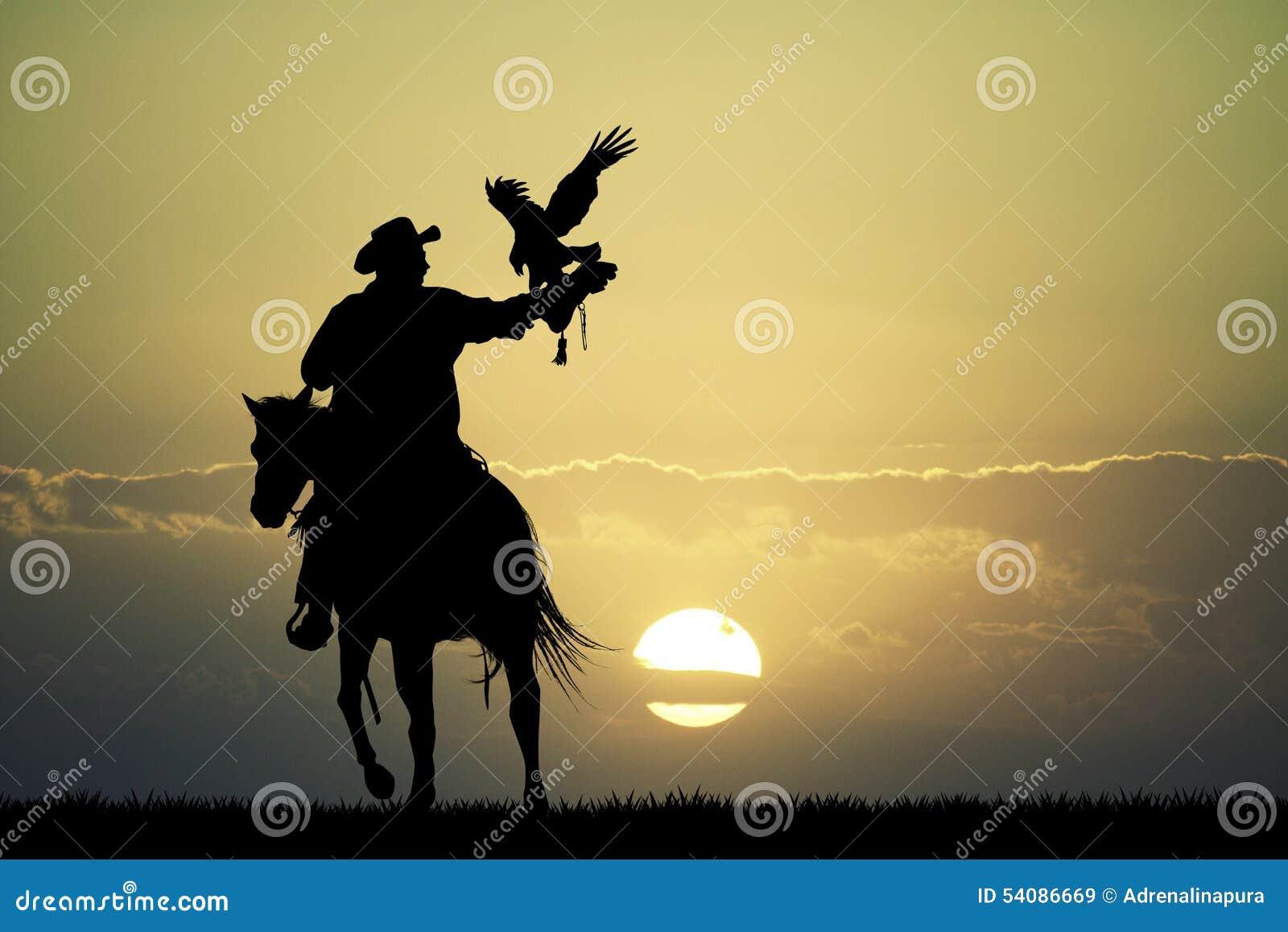 Mens op paard met havik